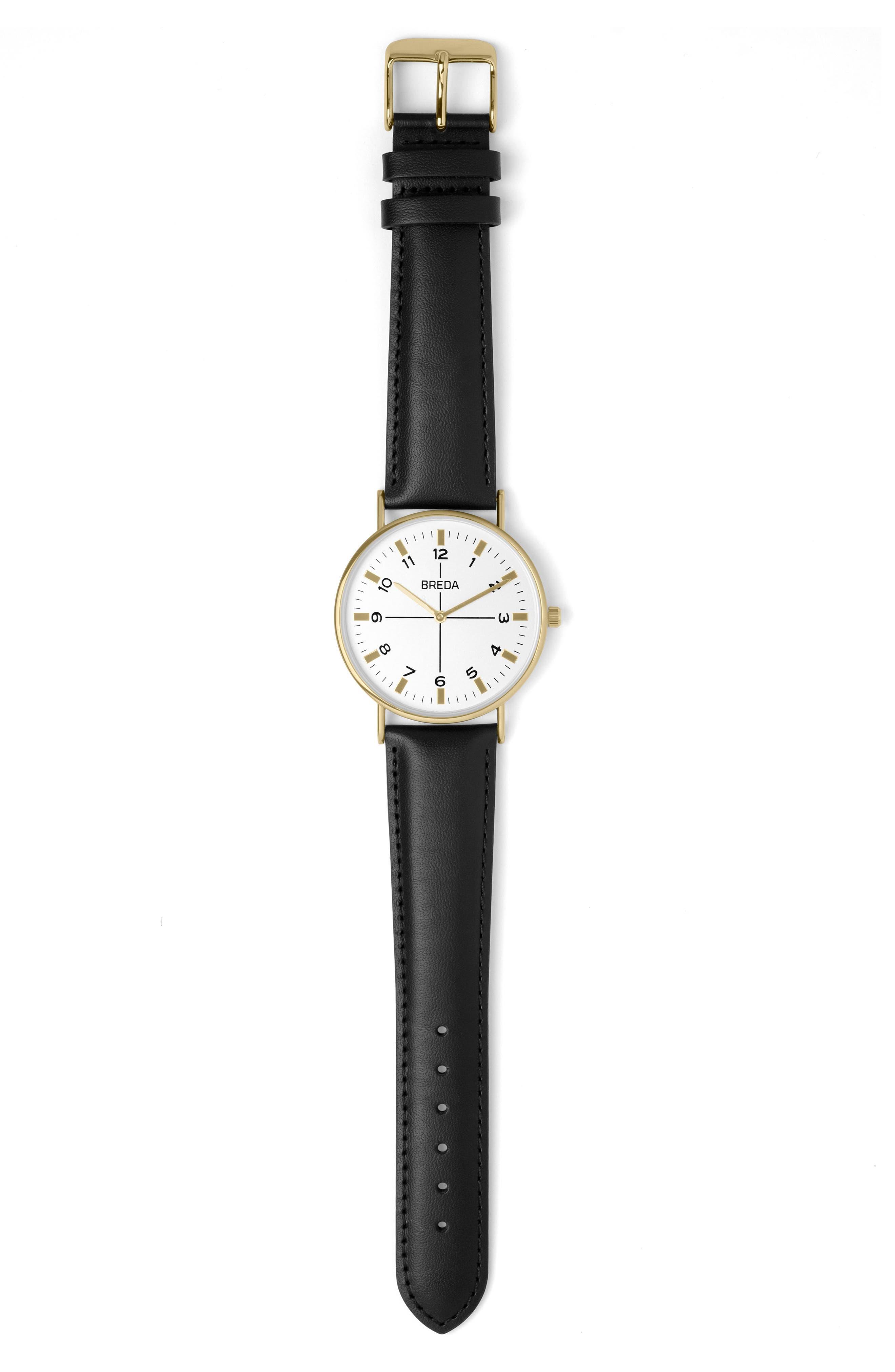 Belmont Slim Leather Strap Watch, 40mm,                             Alternate thumbnail 3, color,                             001