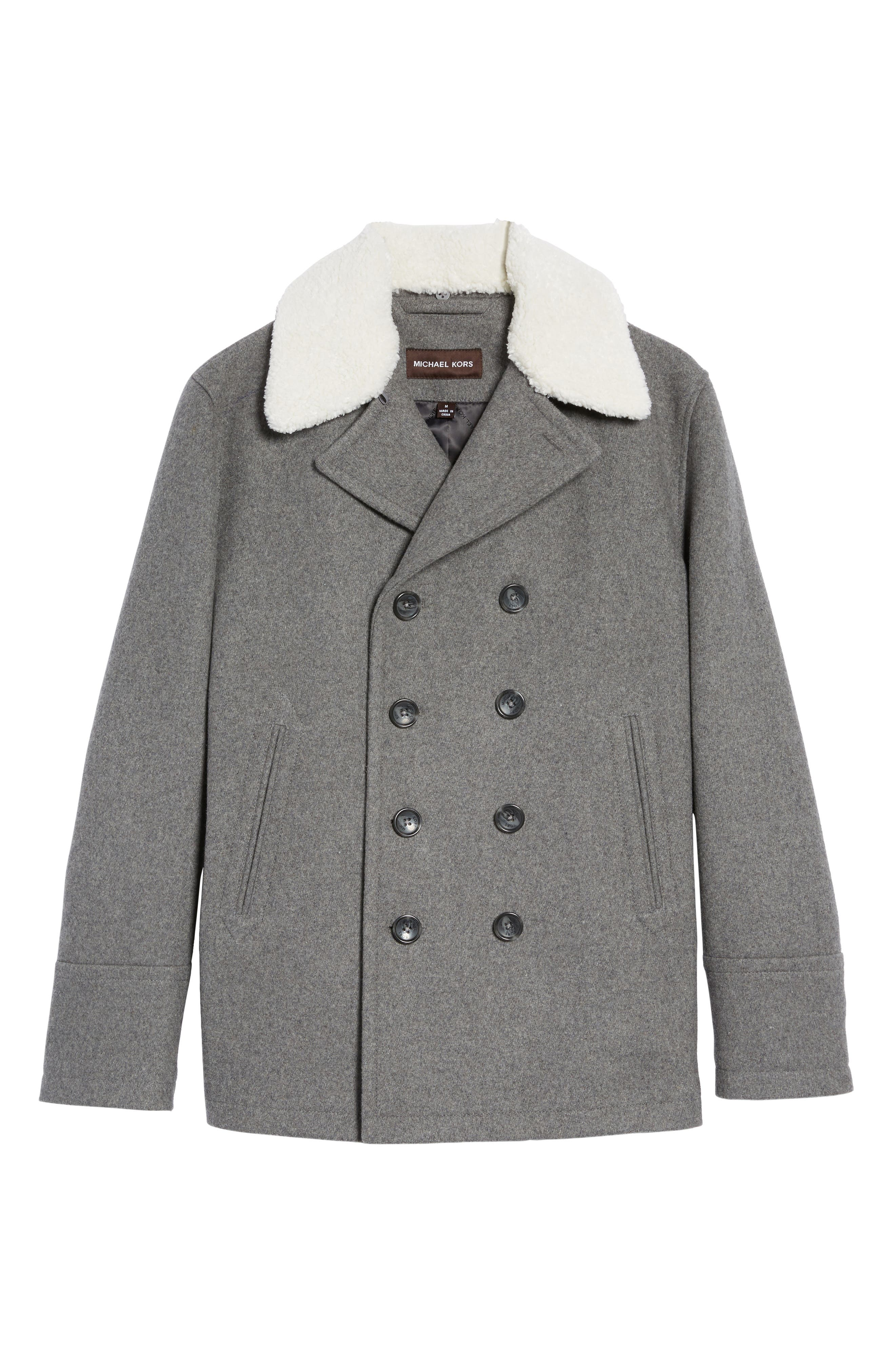 Peacoat with Faux Shearling Collar,                             Alternate thumbnail 5, color,                             038