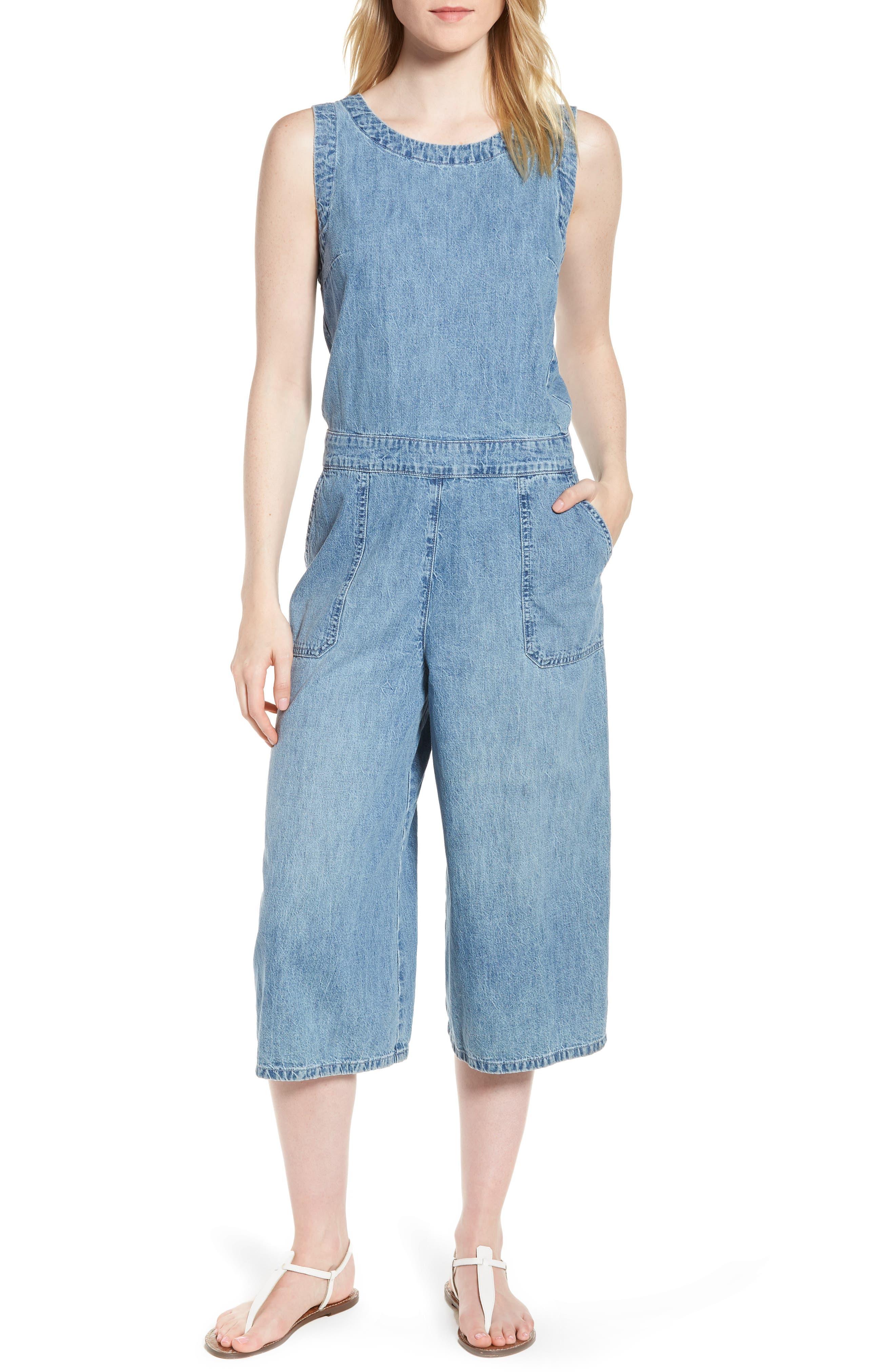 Denim Crop Jumpsuit,                         Main,                         color, 450