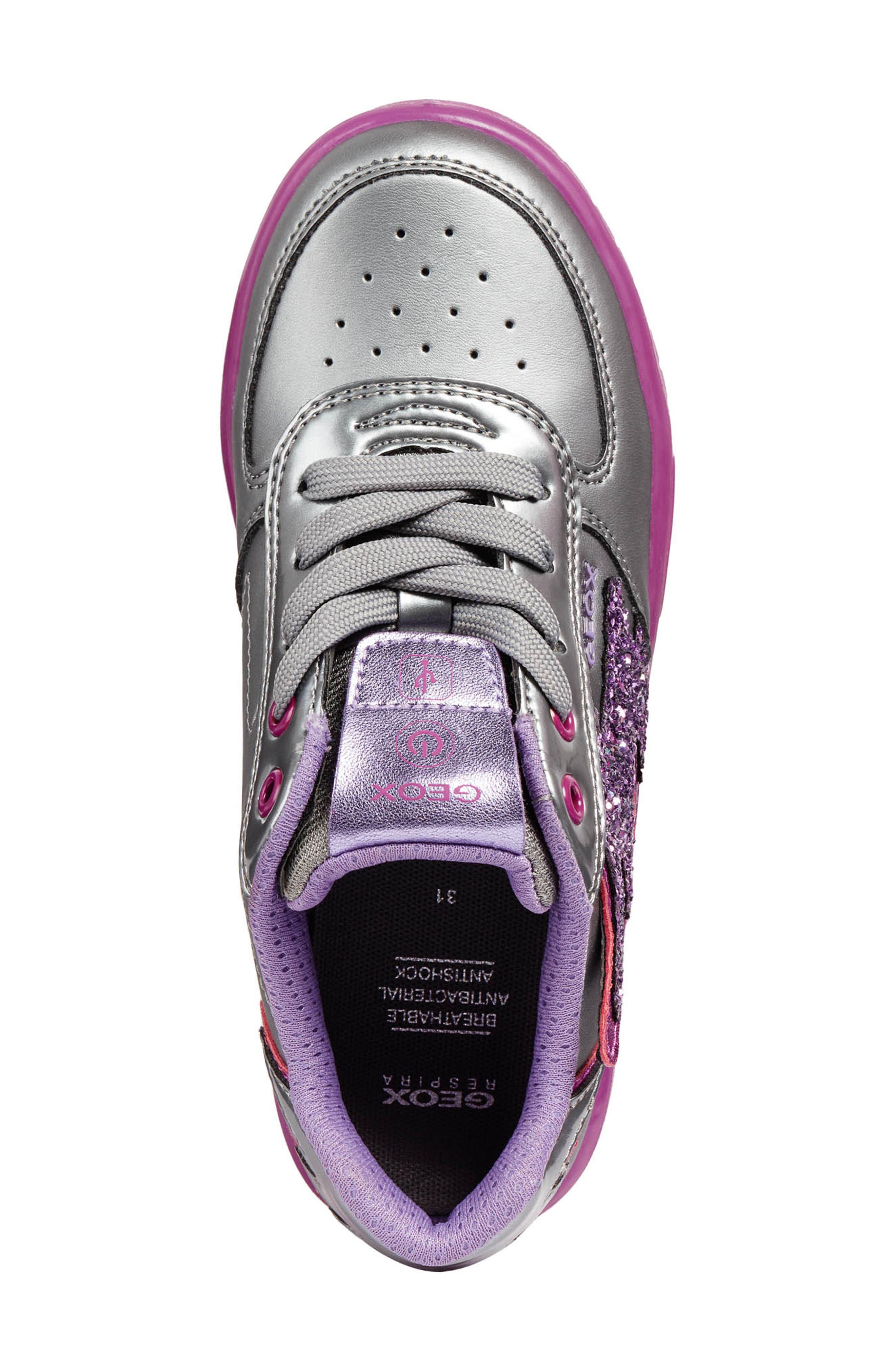 Kommodor Glitter Light Up Sneaker,                             Alternate thumbnail 4, color,                             DARK SILVER/LILAC