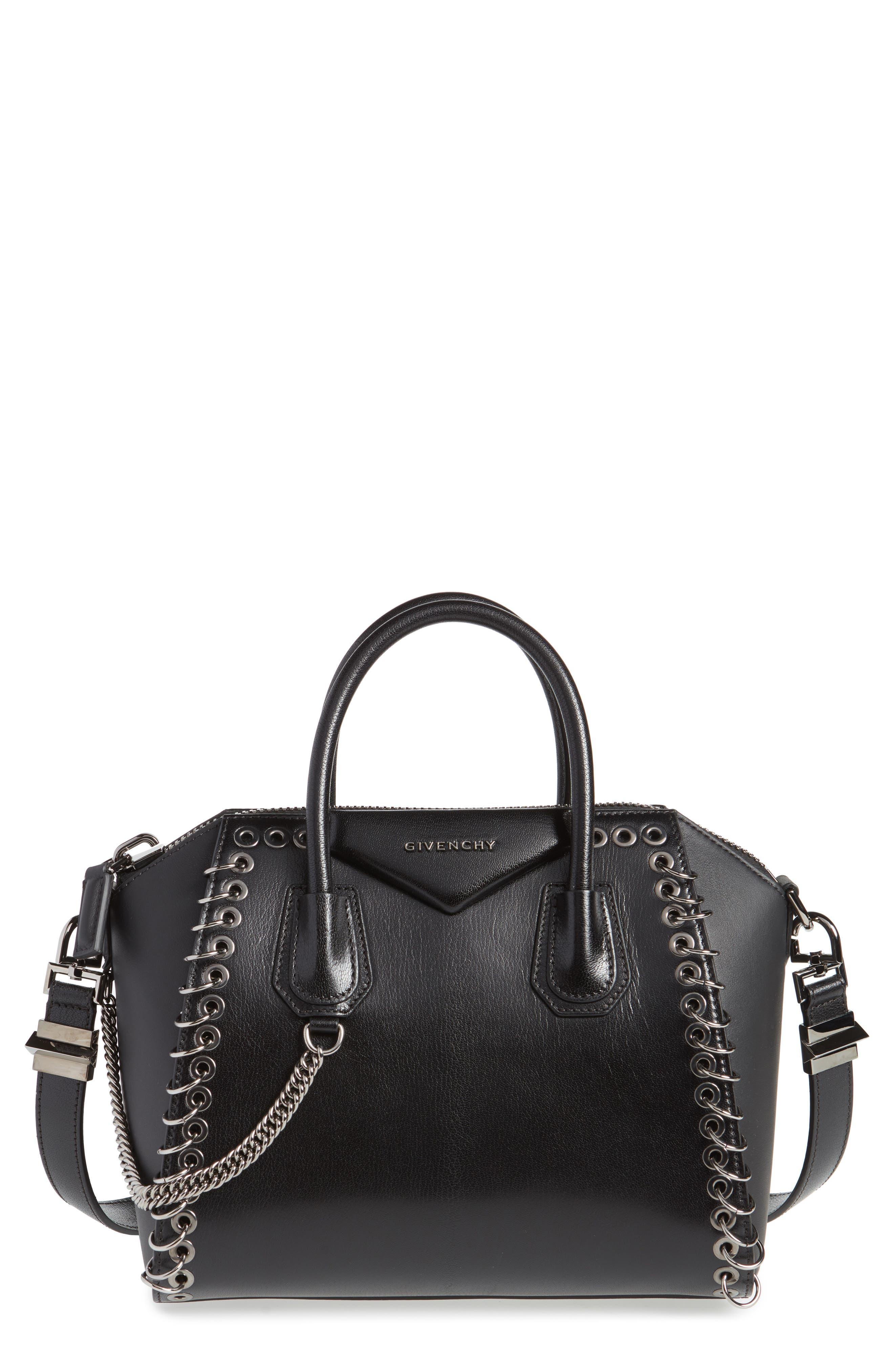 Small Antigona Leather Satchel,                         Main,                         color, BLACK