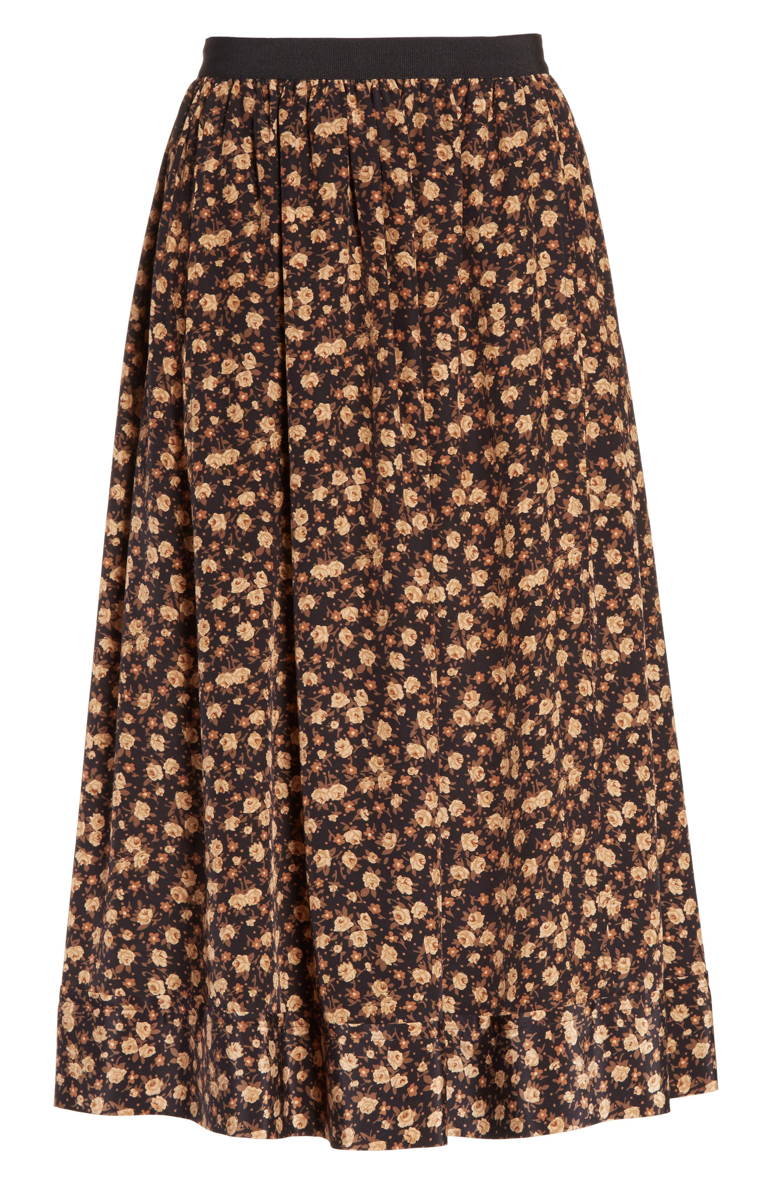 Dirndl Silk Floral Midi Skirt,                             Alternate thumbnail 5, color,                             007