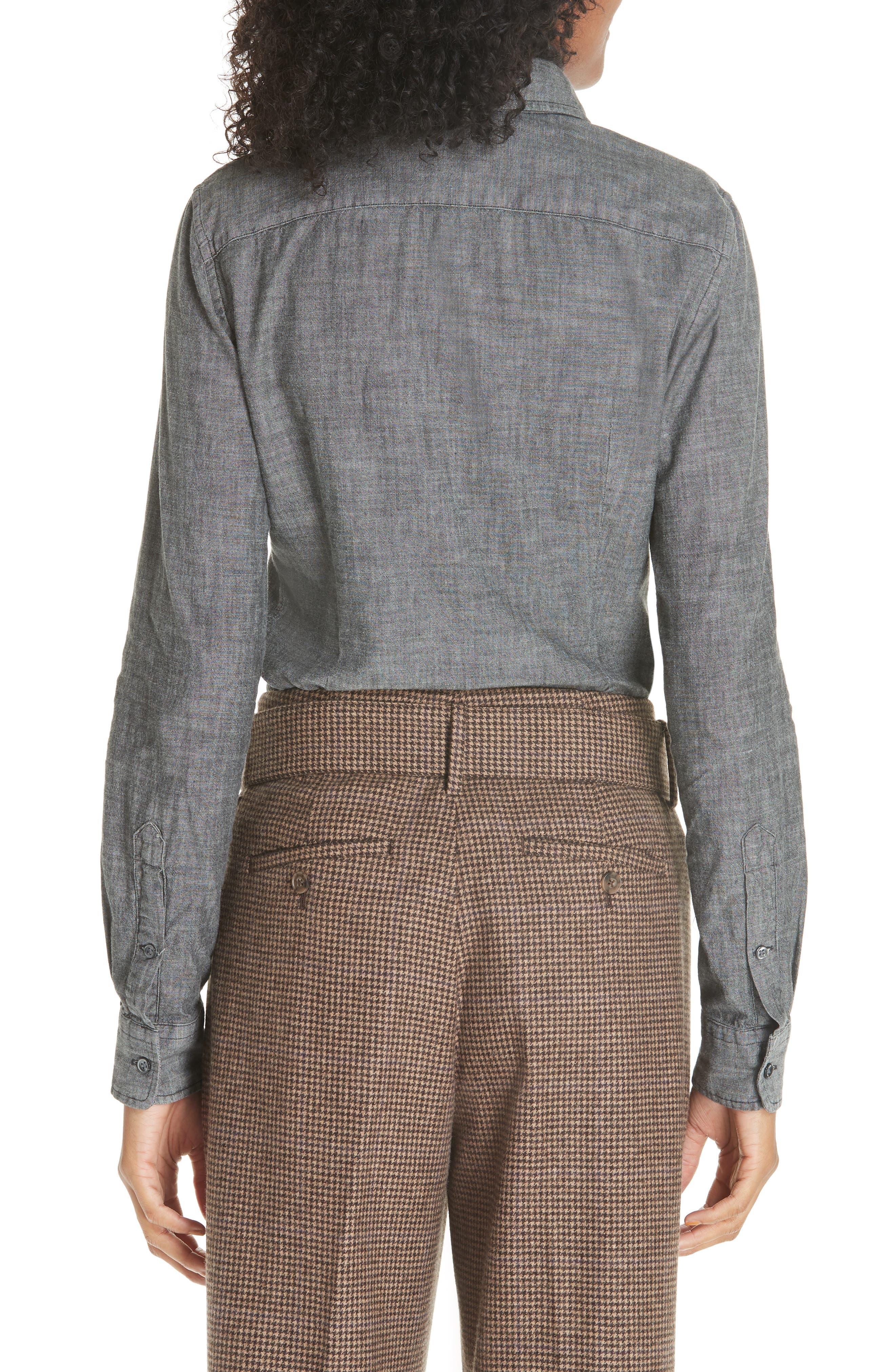 Slim Chambray Shirt,                             Alternate thumbnail 2, color,                             BLACK