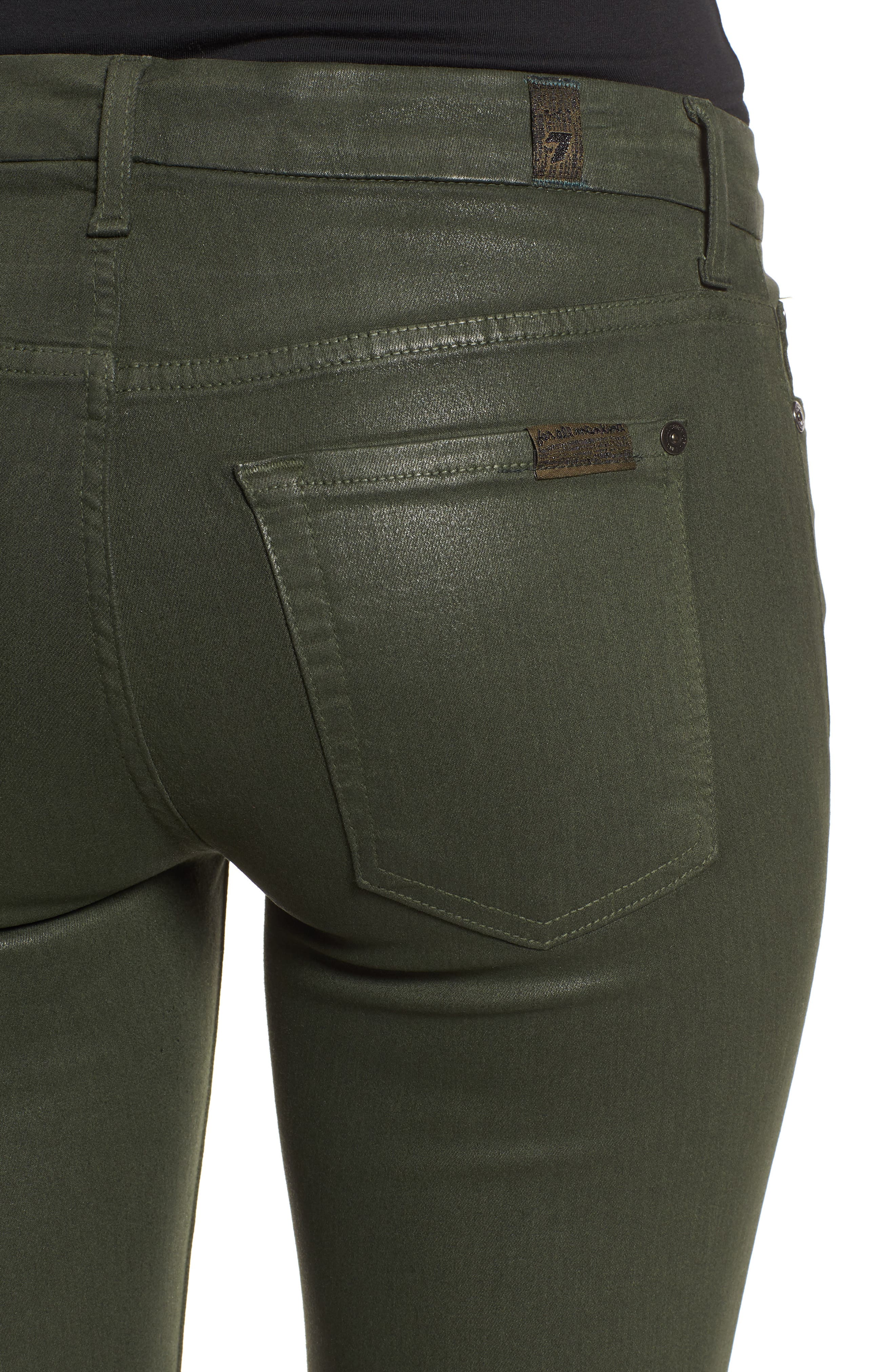 Coated Ankle Skinny Jeans,                             Alternate thumbnail 4, color,                             COATED MOSS GREEN