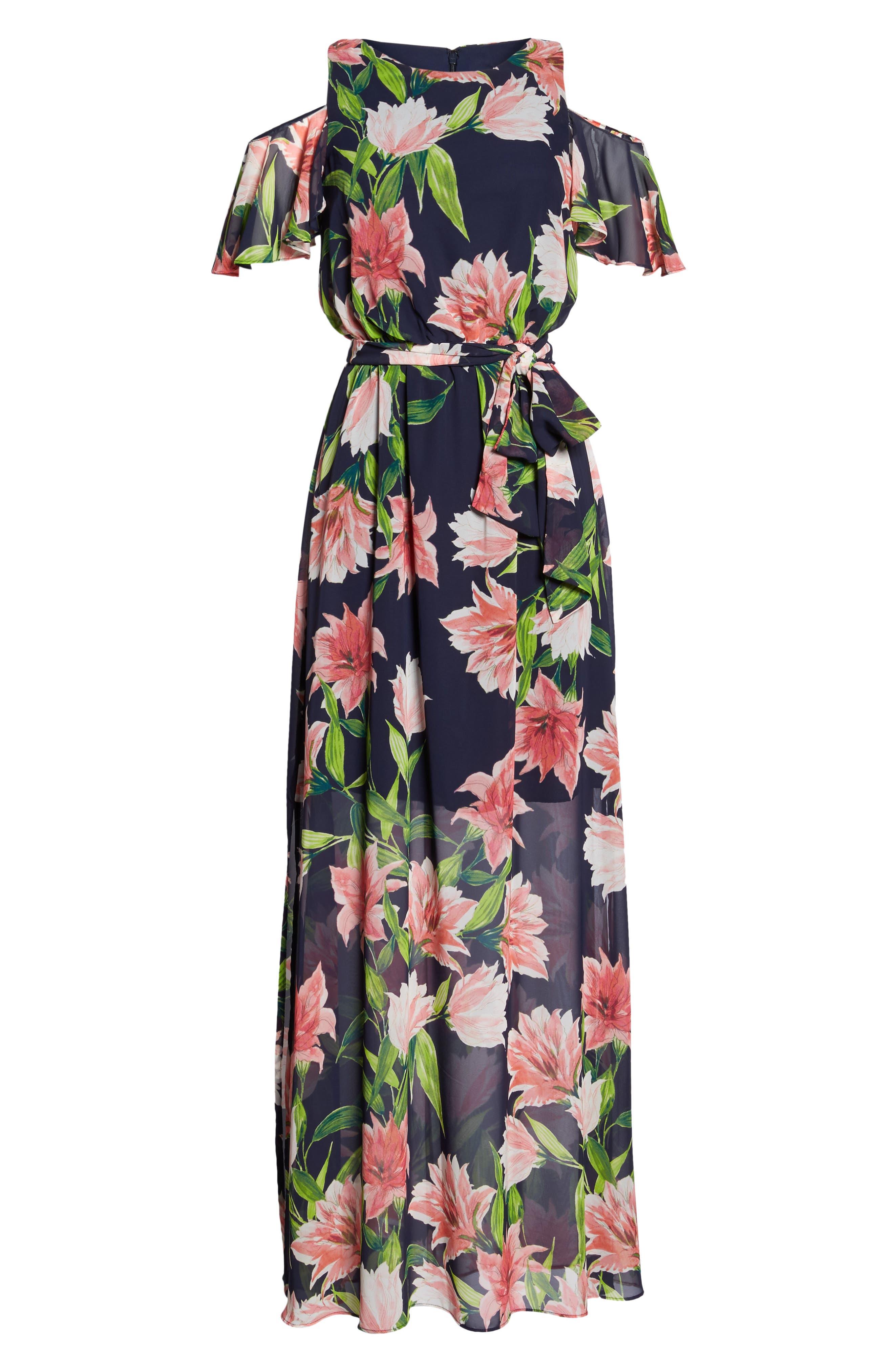 Floral Cold-Shoulder Maxi Dress,                             Alternate thumbnail 6, color,