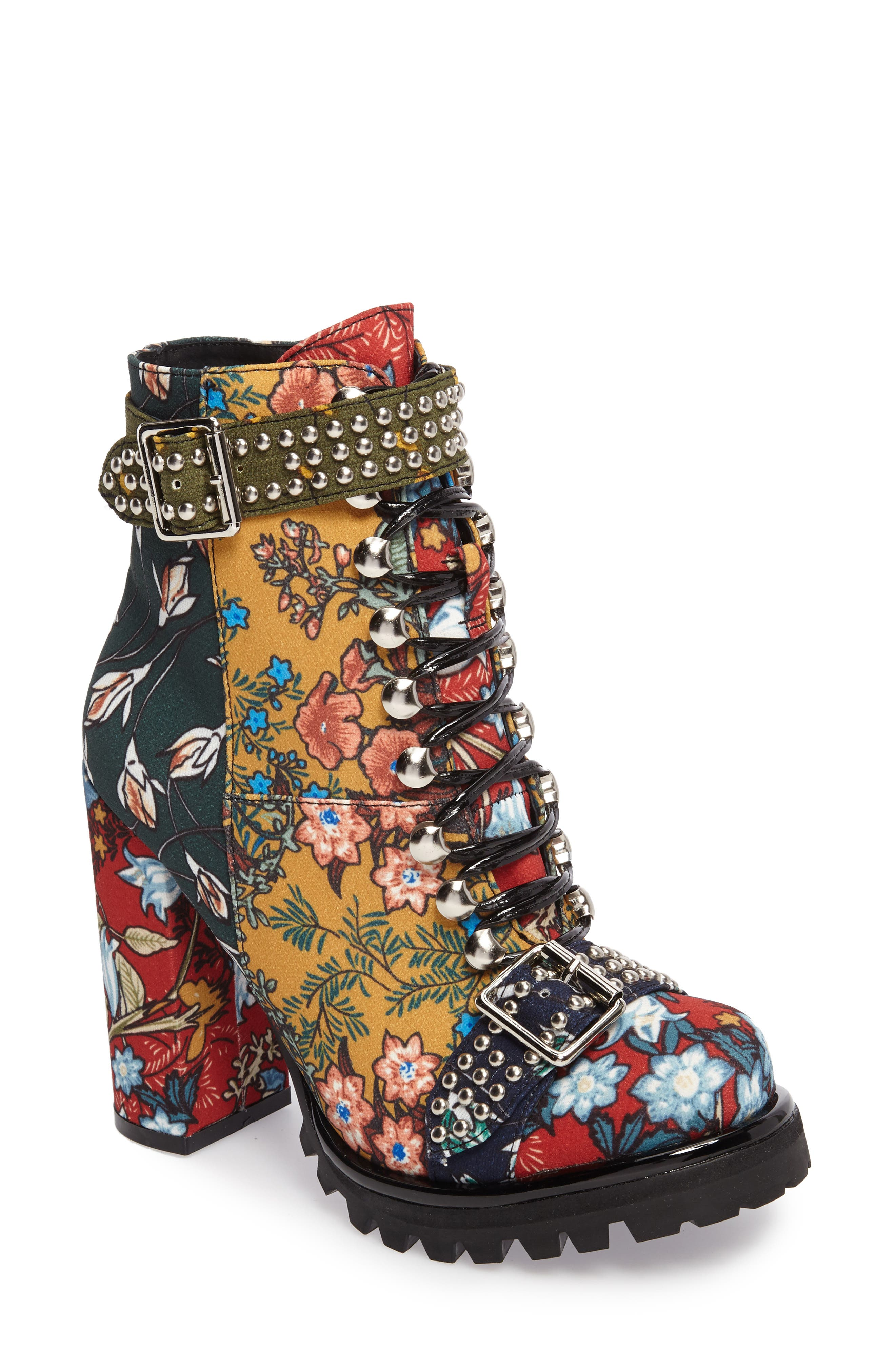Lilith Block Heel Bootie,                             Main thumbnail 1, color,                             NEW FLORAL COMBO