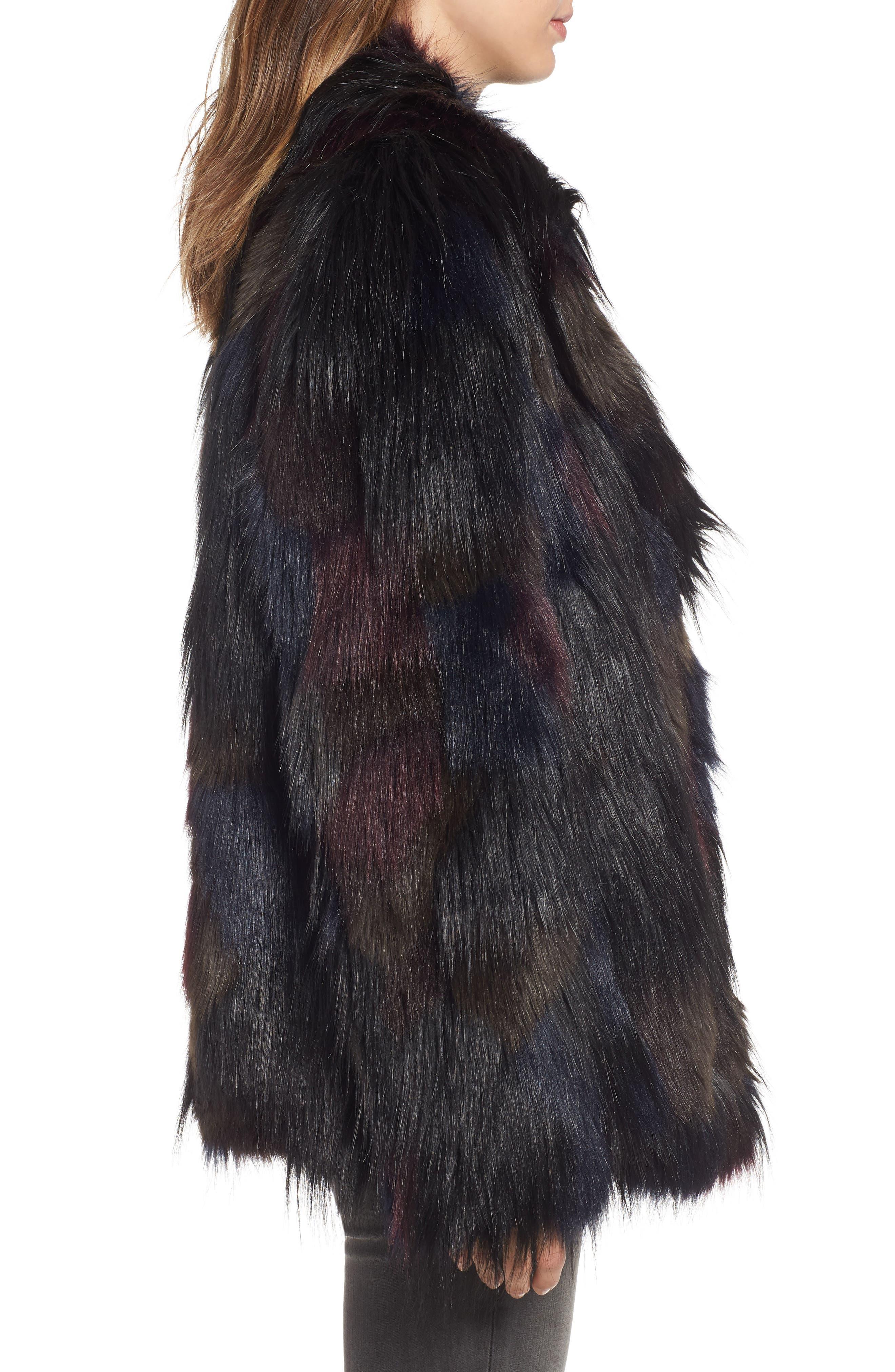 Multicolored Faux Fur Jacket,                             Alternate thumbnail 3, color,                             MULTI