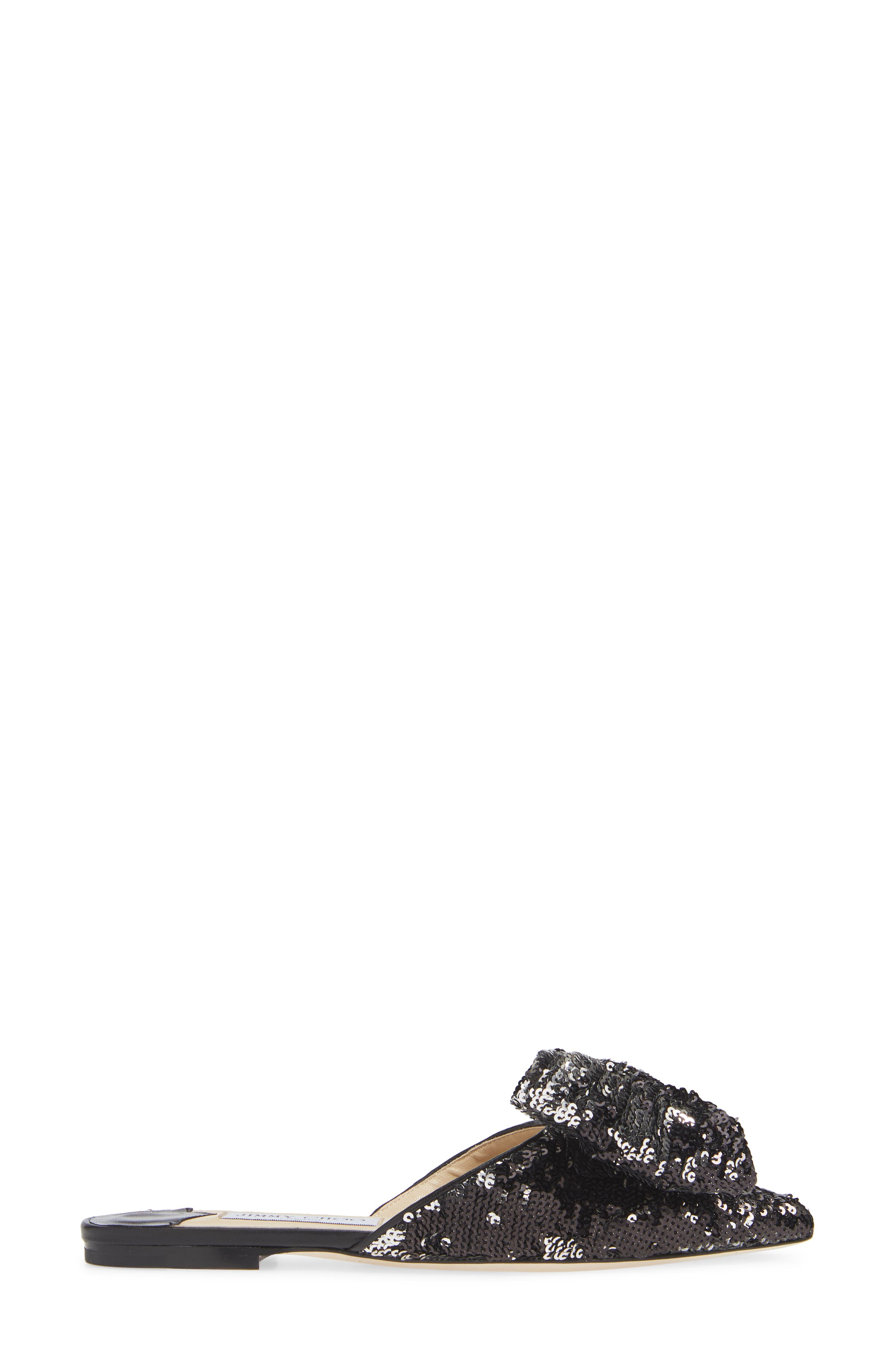 Georgia Sequin Bow Mule,                             Alternate thumbnail 3, color,                             BLACK/ SILVER