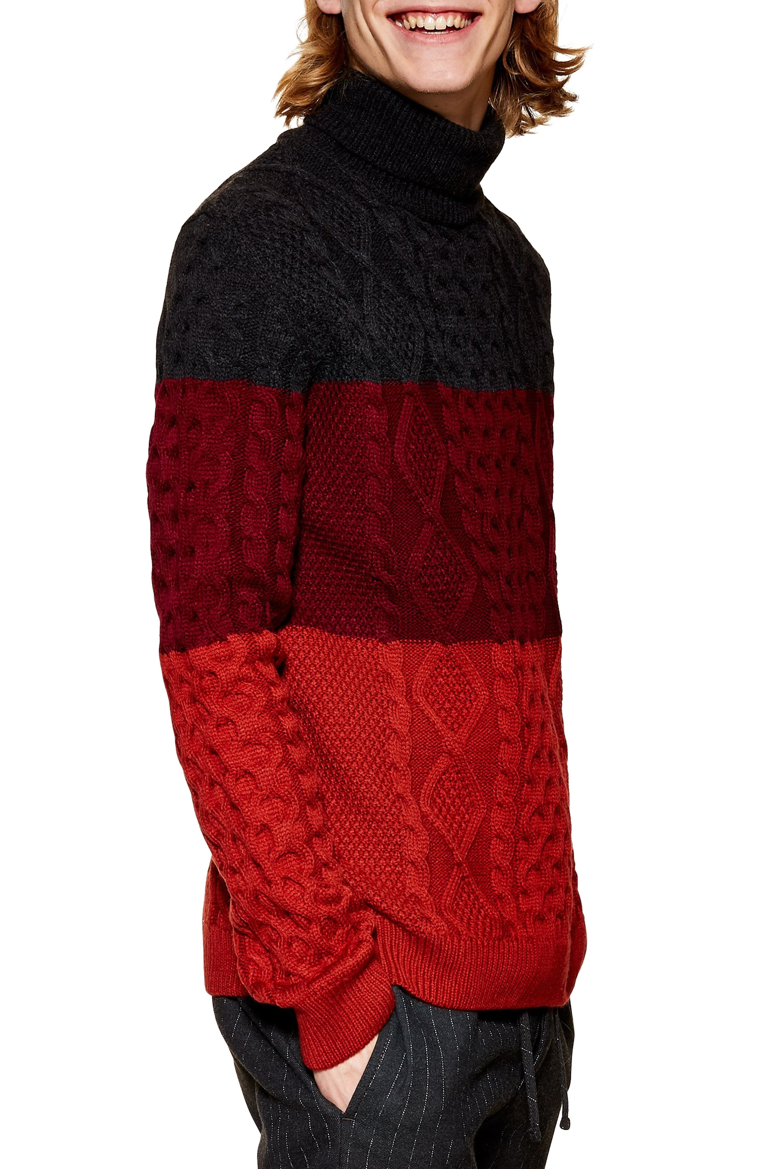 Colorblock Cable Knit Turtleneck Sweater,                             Main thumbnail 1, color,                             RED MULTI