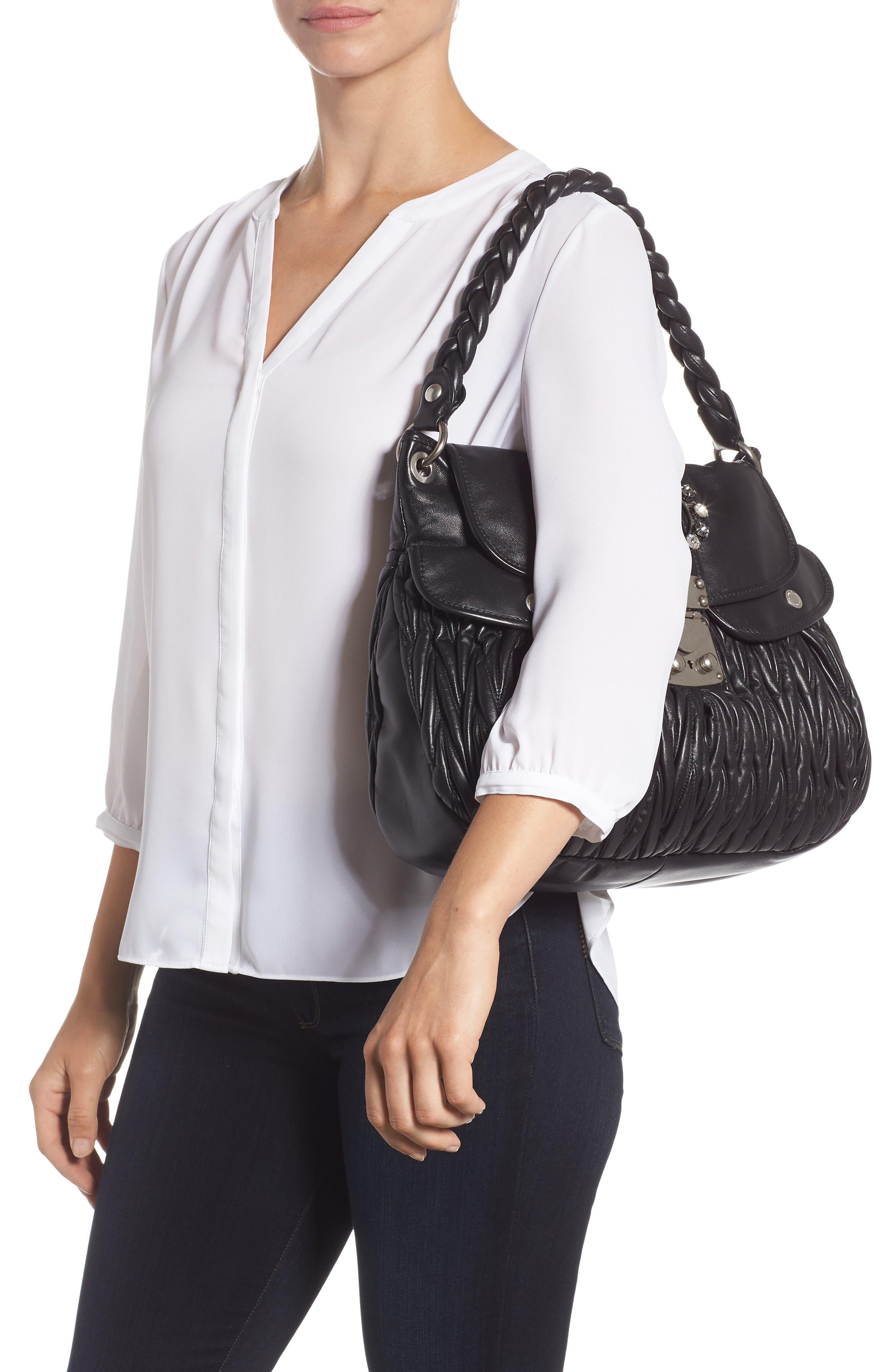 Matelassé Lambskin Leather Shoulder Bag,                             Alternate thumbnail 2, color,                             NERO