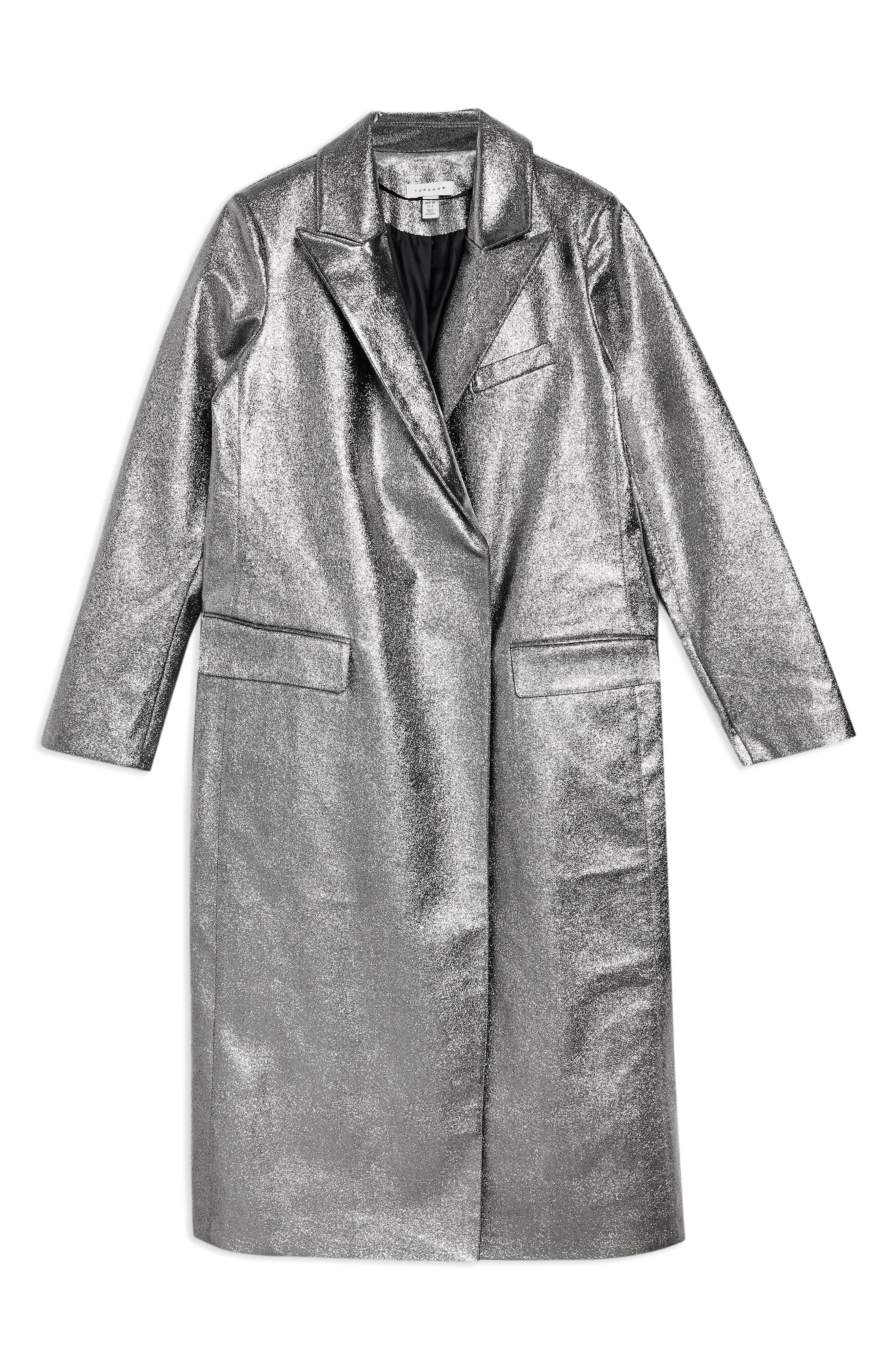 TOPSHOP,                             Twinkle Textured Coat,                             Alternate thumbnail 3, color,                             SILVER