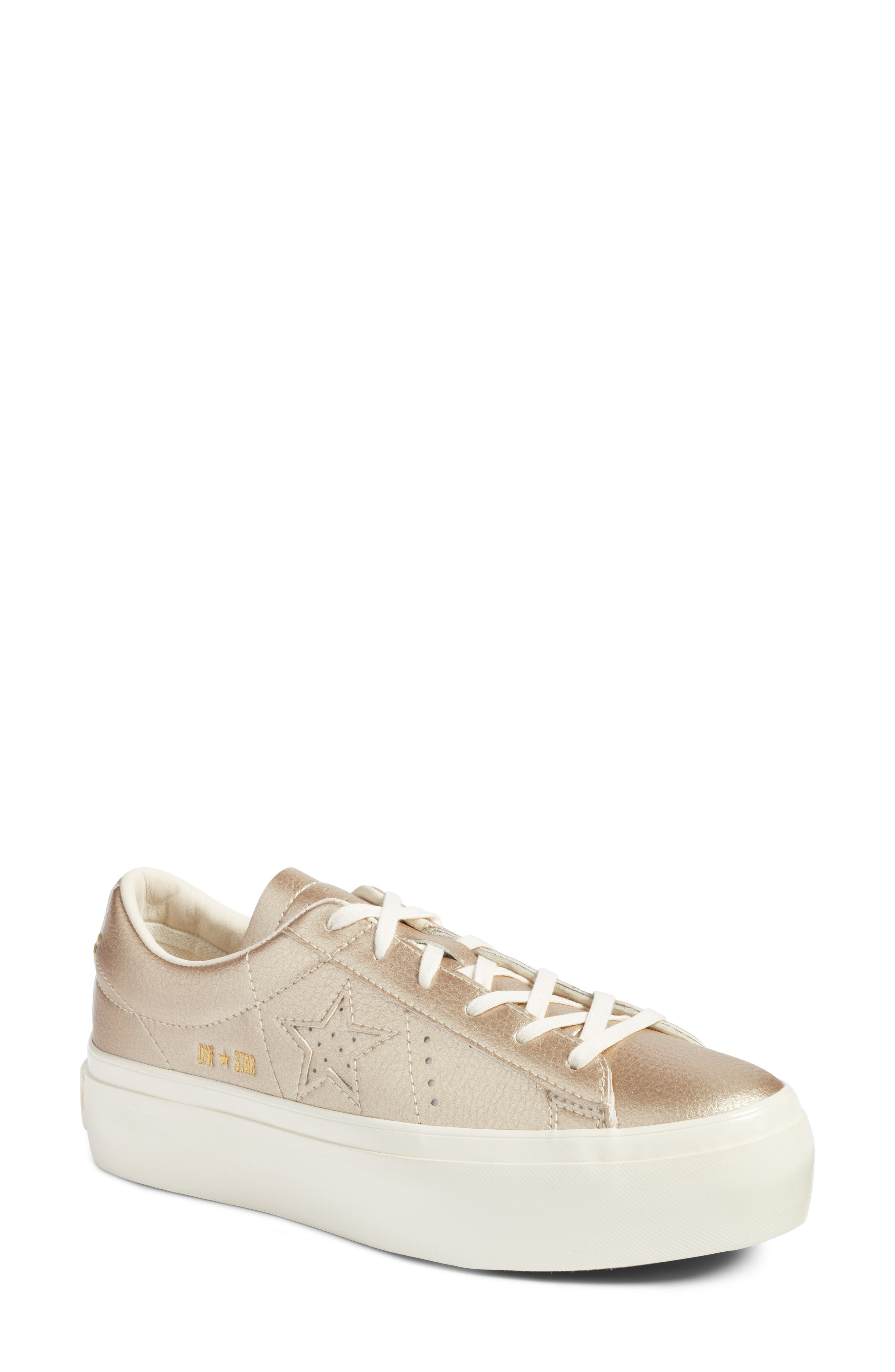 Chuck Taylor<sup>®</sup> All Star<sup>®</sup> One Star Metallic Platform Sneaker,                         Main,                         color,
