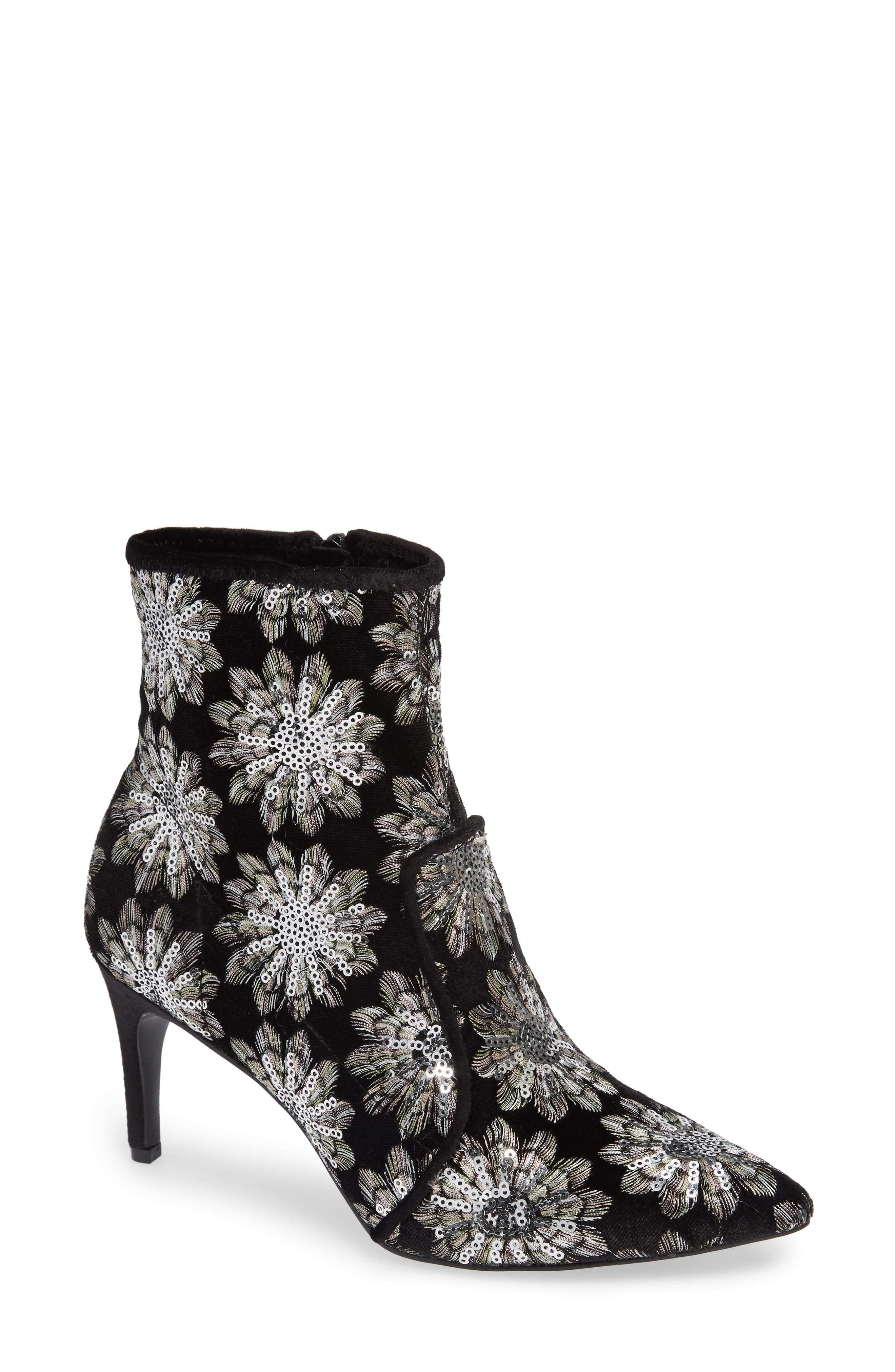 CHARLES DAVID Women'S Pointed Toe Floral Firework Embroidered Booties in Silver/ Black