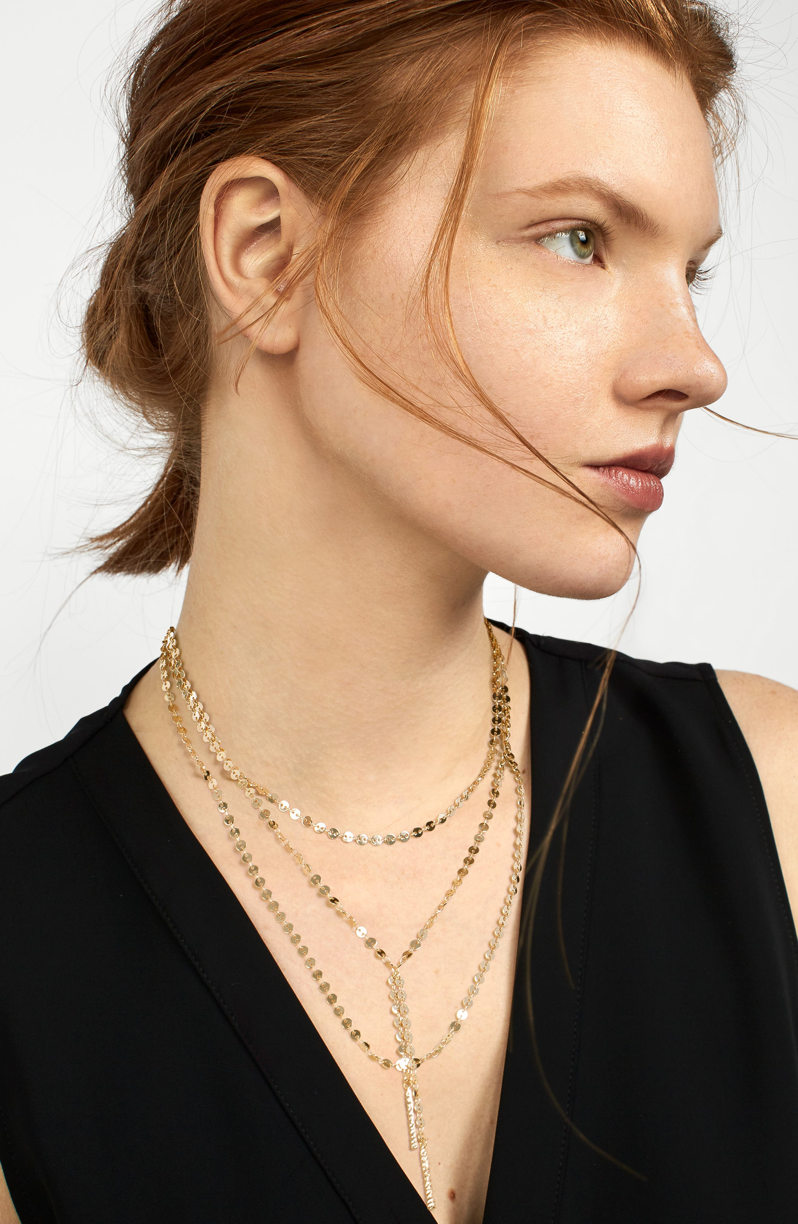 Amber Layered Chain Y-Necklace,                             Alternate thumbnail 3, color,                             GOLD