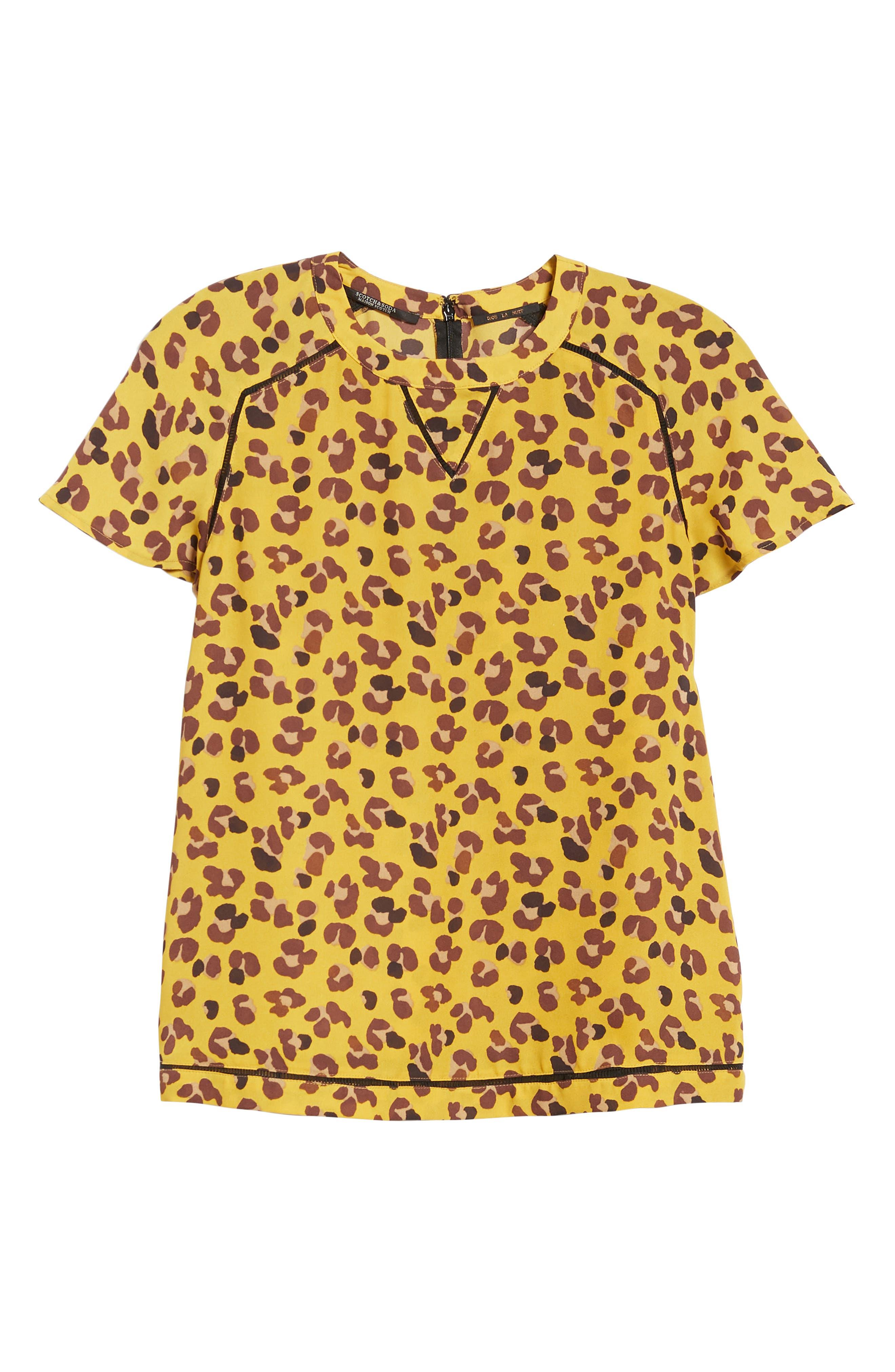 Leopard Print Top,                             Alternate thumbnail 6, color,                             YELLOW LEOPARD PRINT