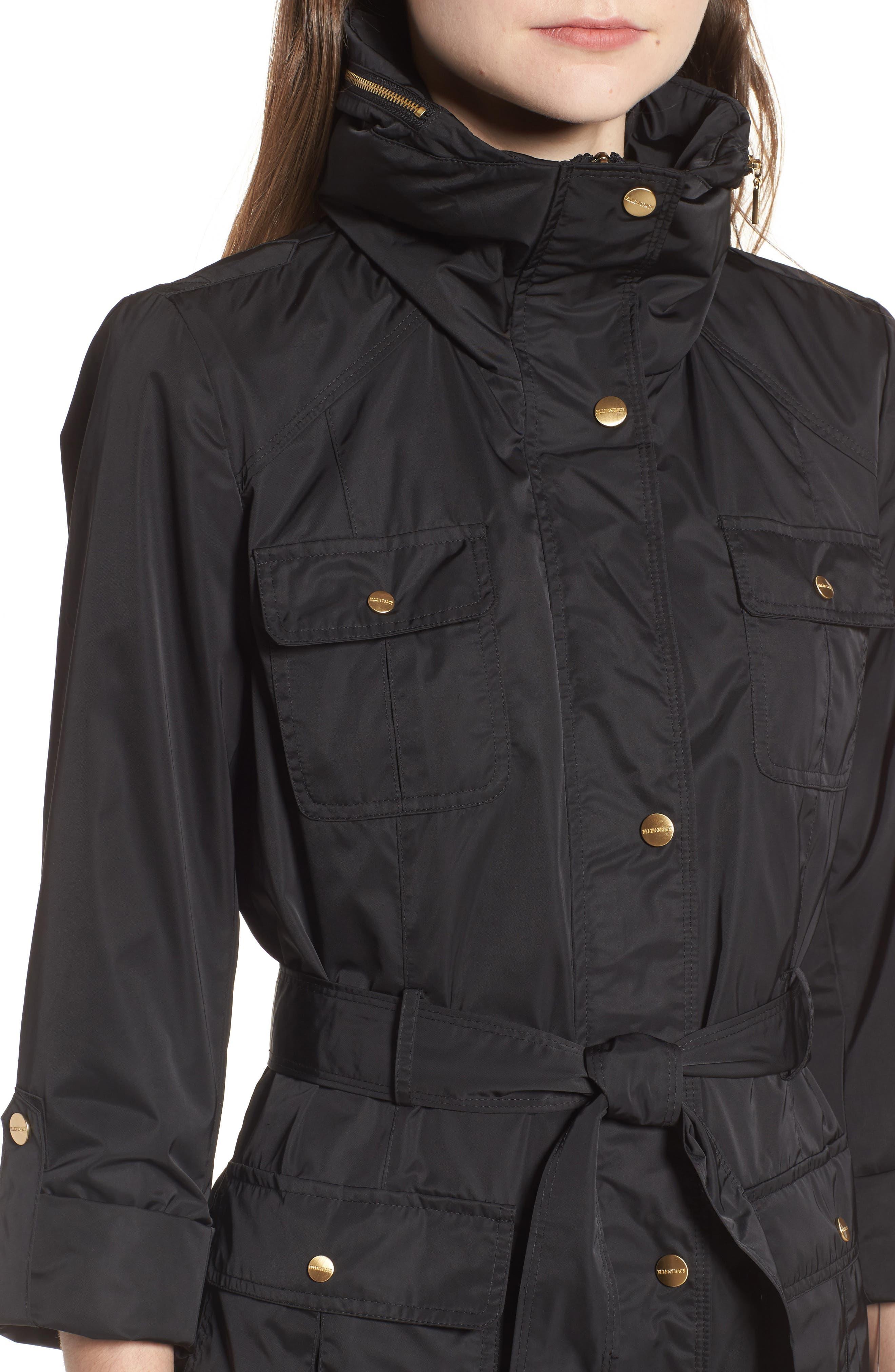 Techno Short Trench Coat,                             Alternate thumbnail 4, color,                             001