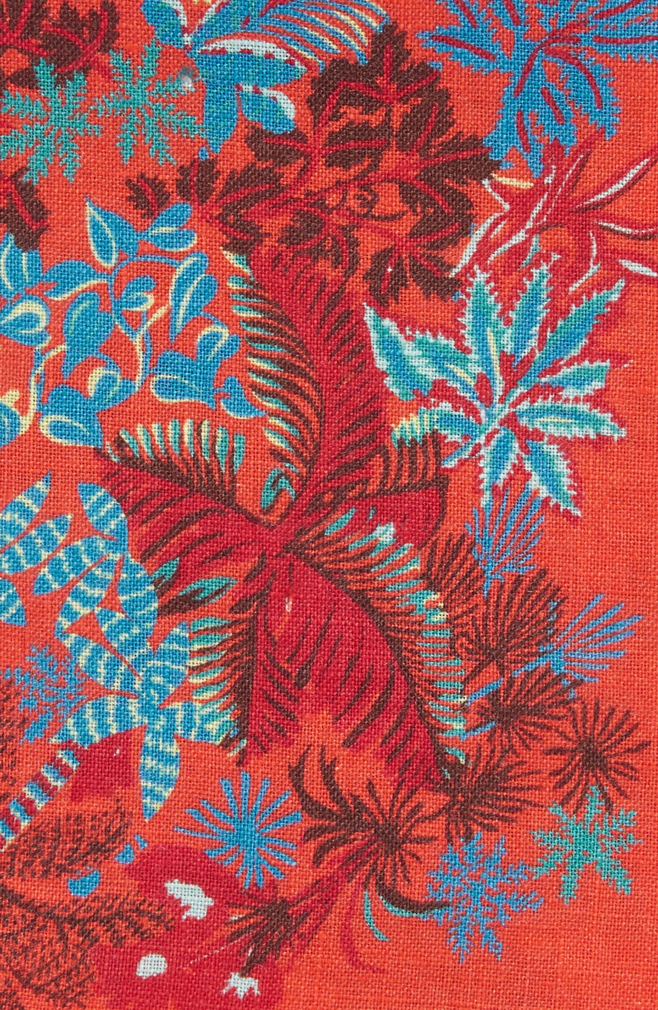 Coral Reef Floral Linen Pocket Square,                             Alternate thumbnail 6, color,