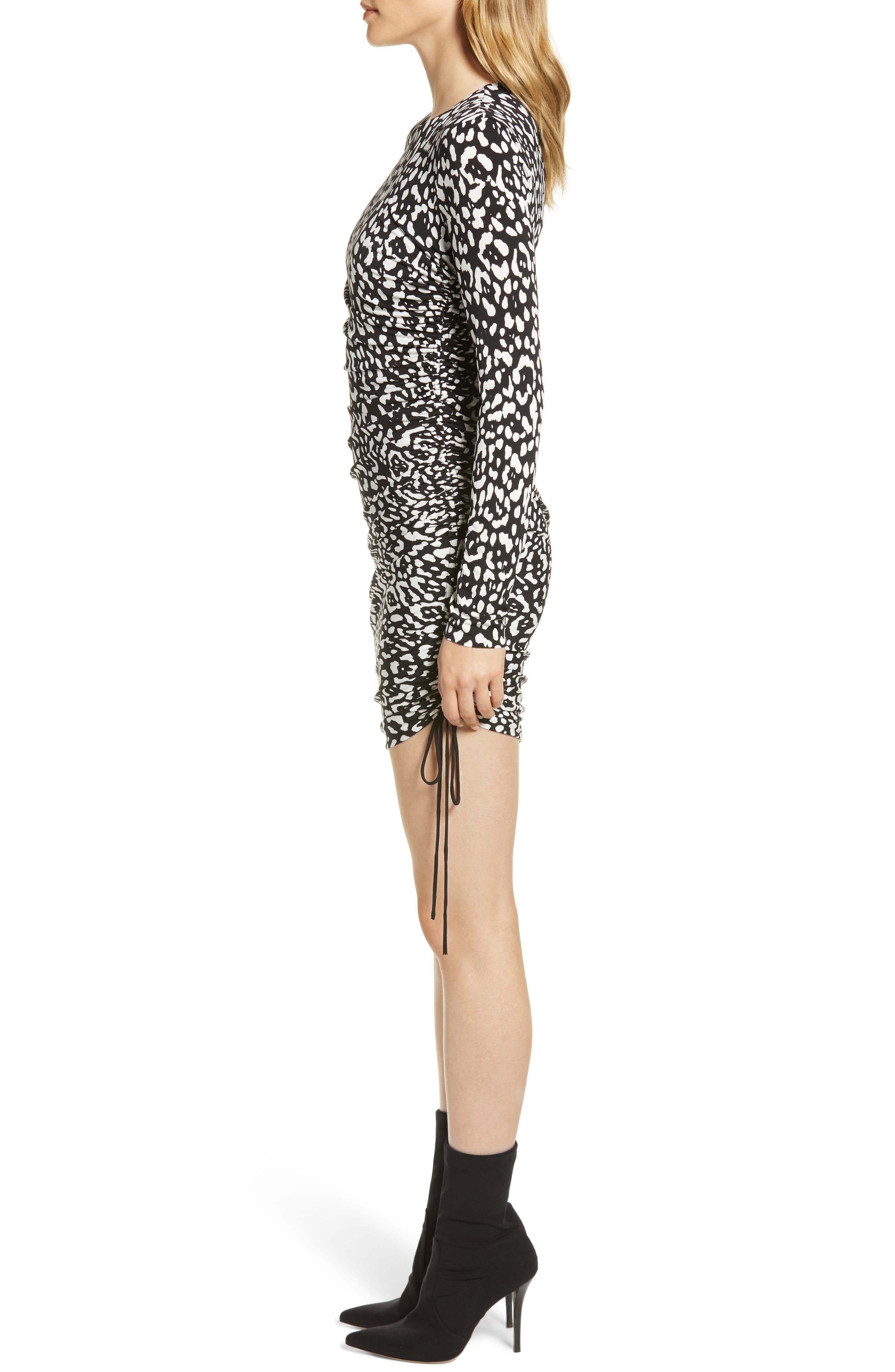 Boogie Wonderland Leopard Print Minidress,                             Alternate thumbnail 3, color,                             BLACK/ CHALK