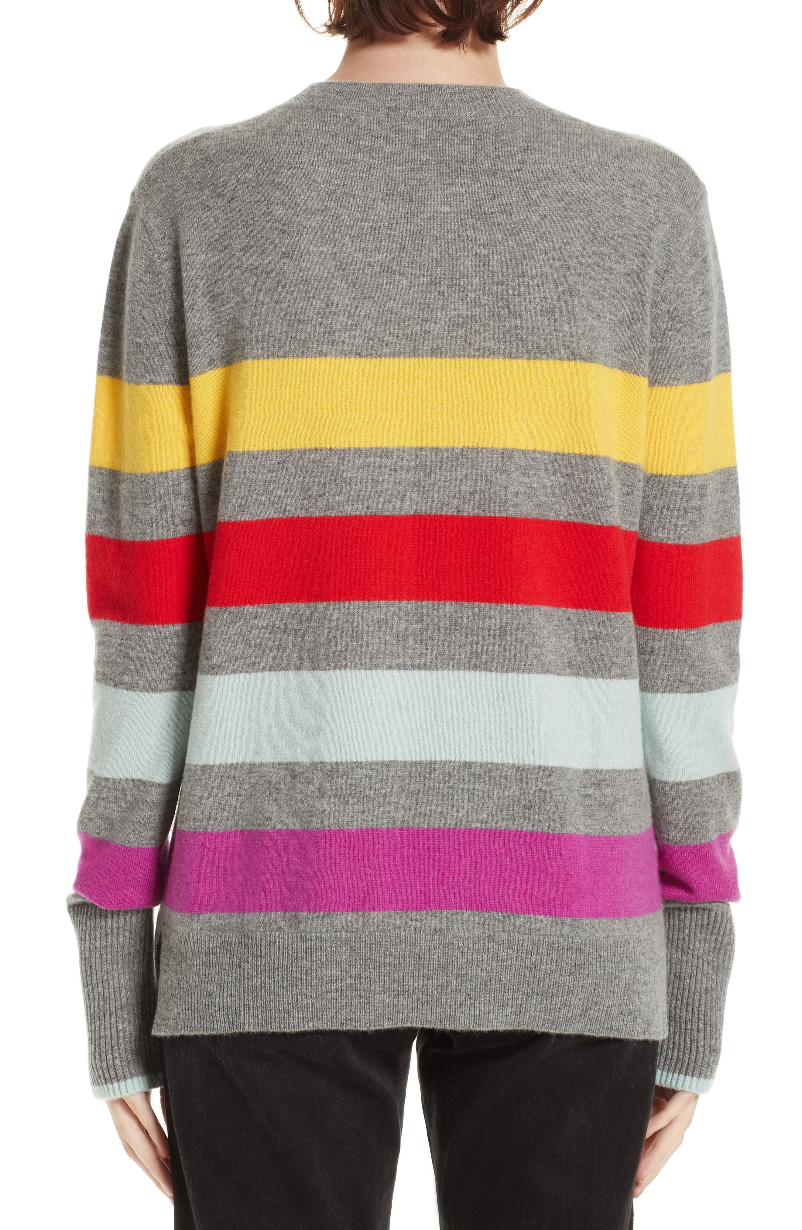 Candy Stripe Sweater,                             Alternate thumbnail 2, color,                             GREY MARLE/ RAINBOW