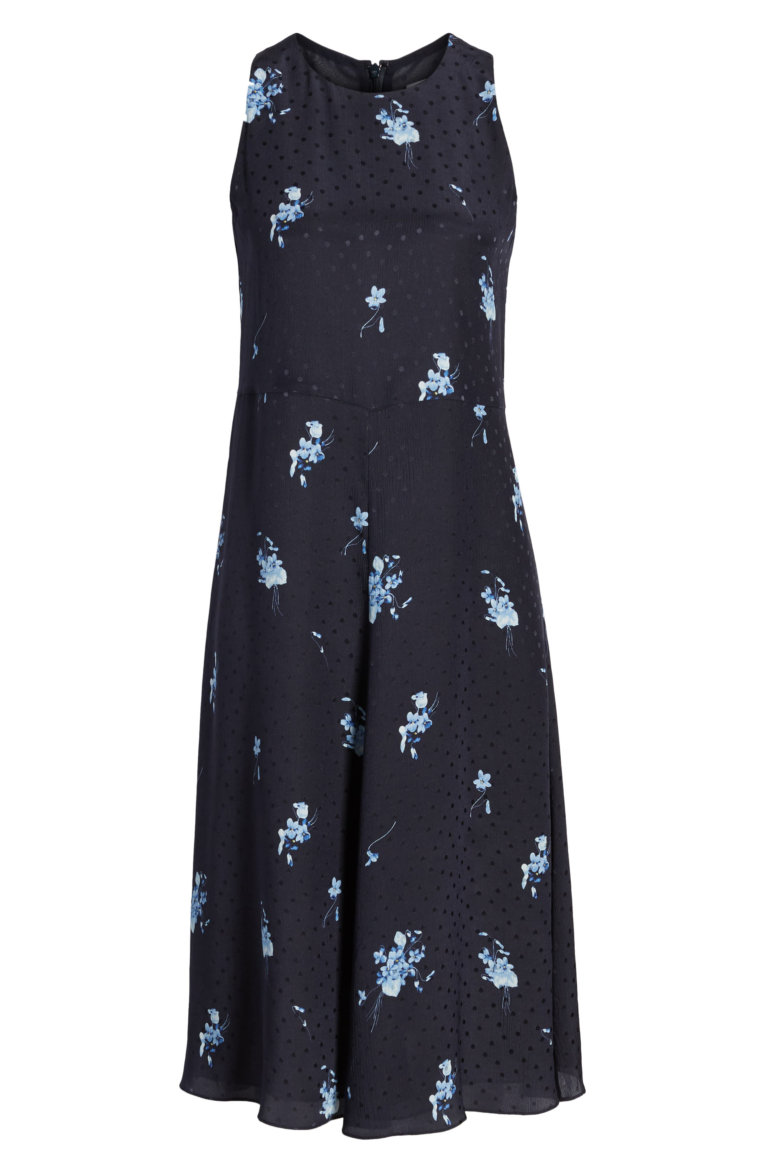 Floral Silk Midi Dress,                             Alternate thumbnail 7, color,                             410