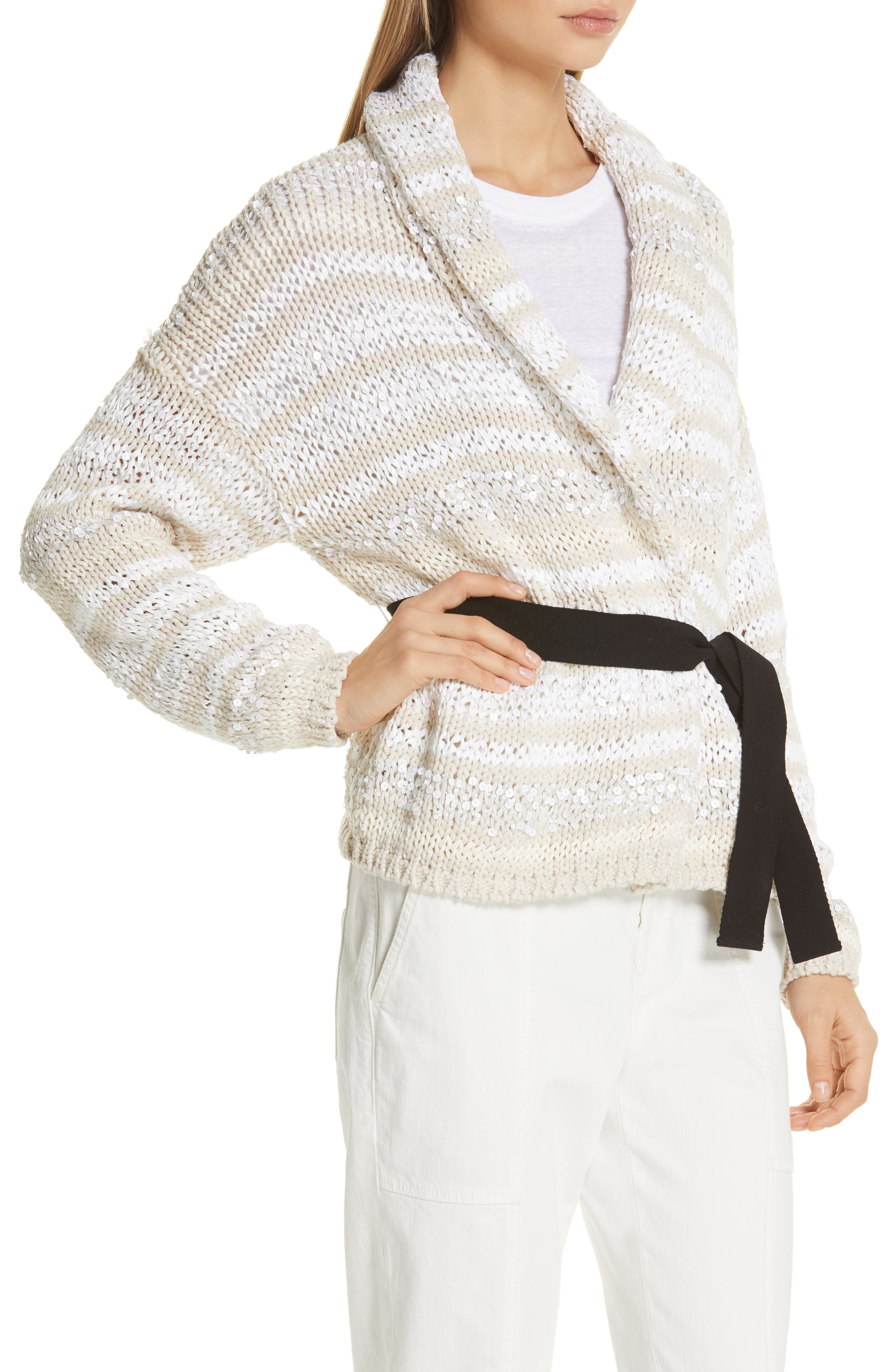 Sequin Stripe Cotton Blend Cardigan,                             Alternate thumbnail 4, color,                             OYSTER