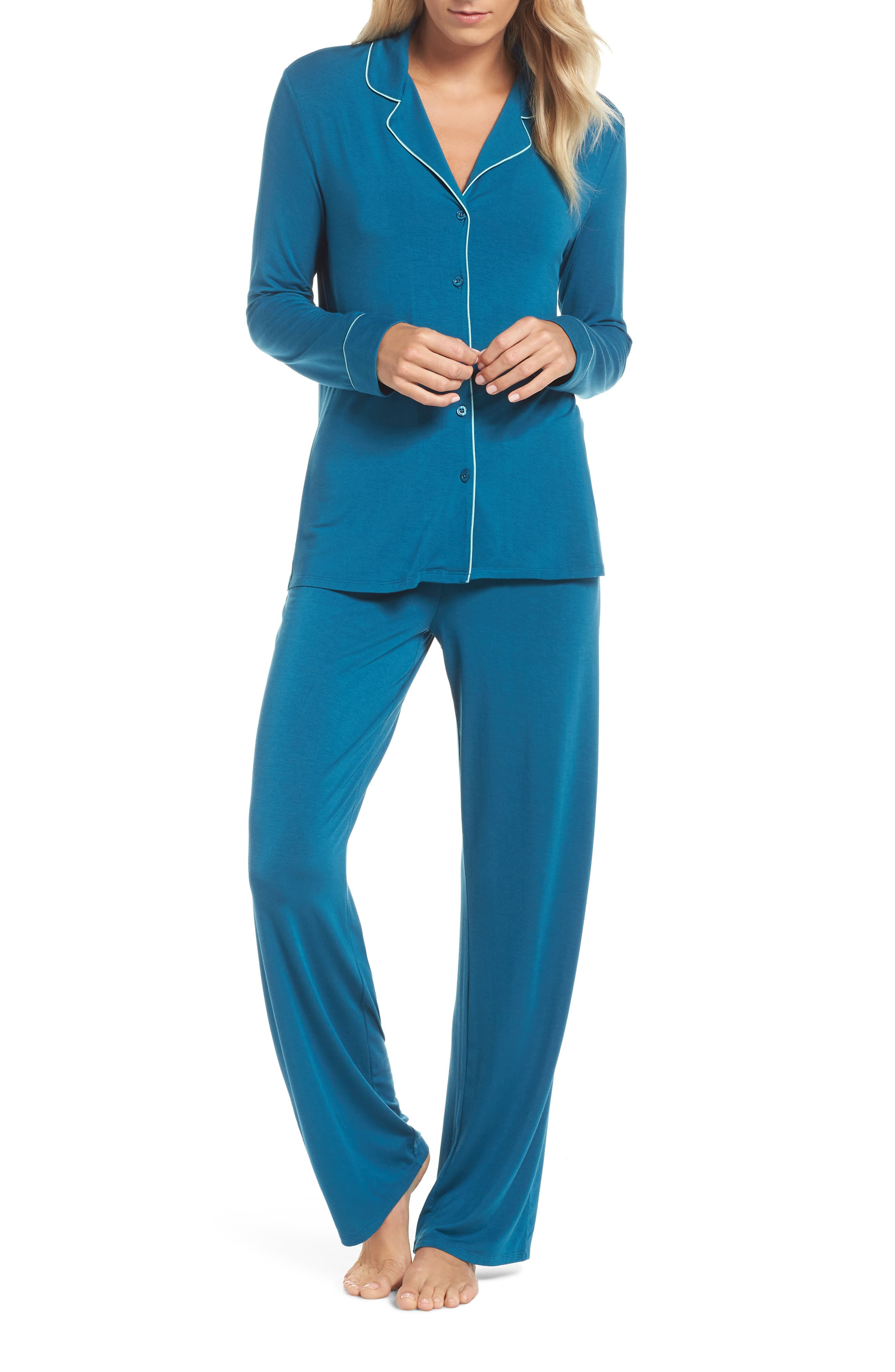 Nordstrom Lingerie Moonlight Pajamas, Blue/green