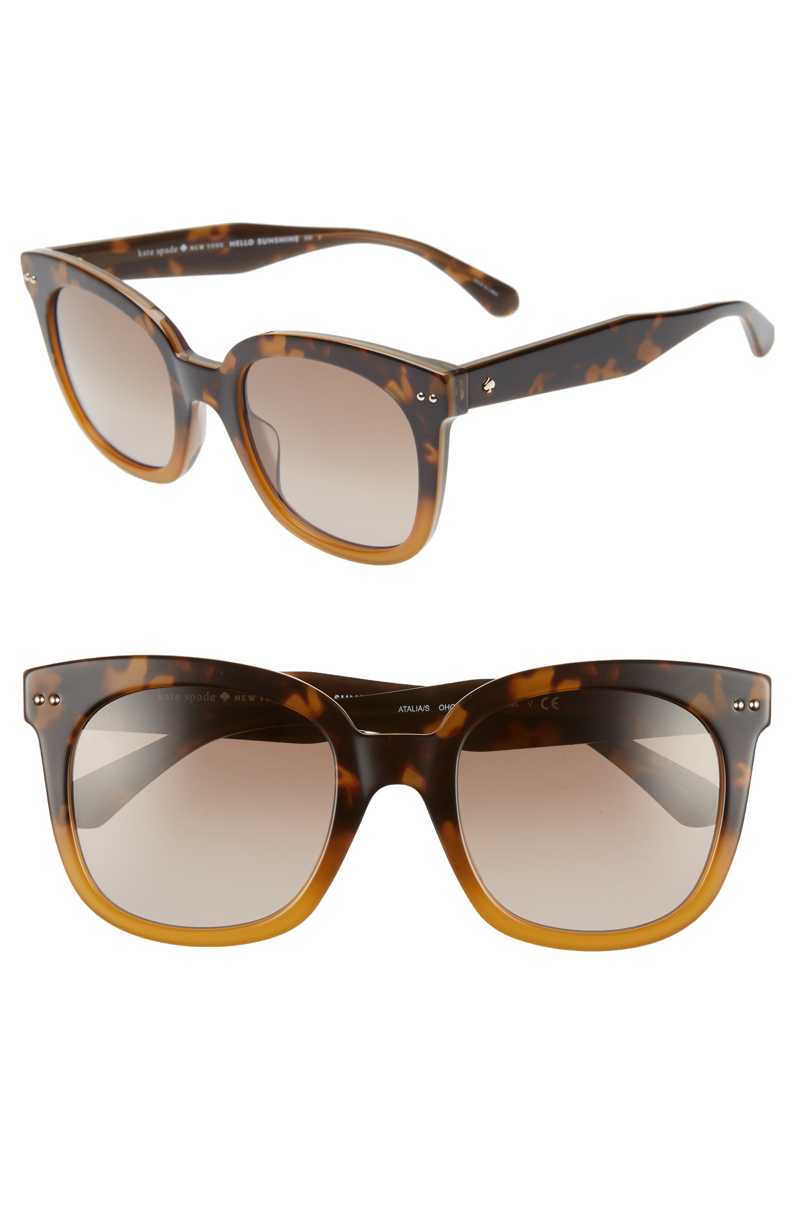 atalias 52mm square sunglasses,                             Main thumbnail 1, color,                             SHADE HAVANA BROWN