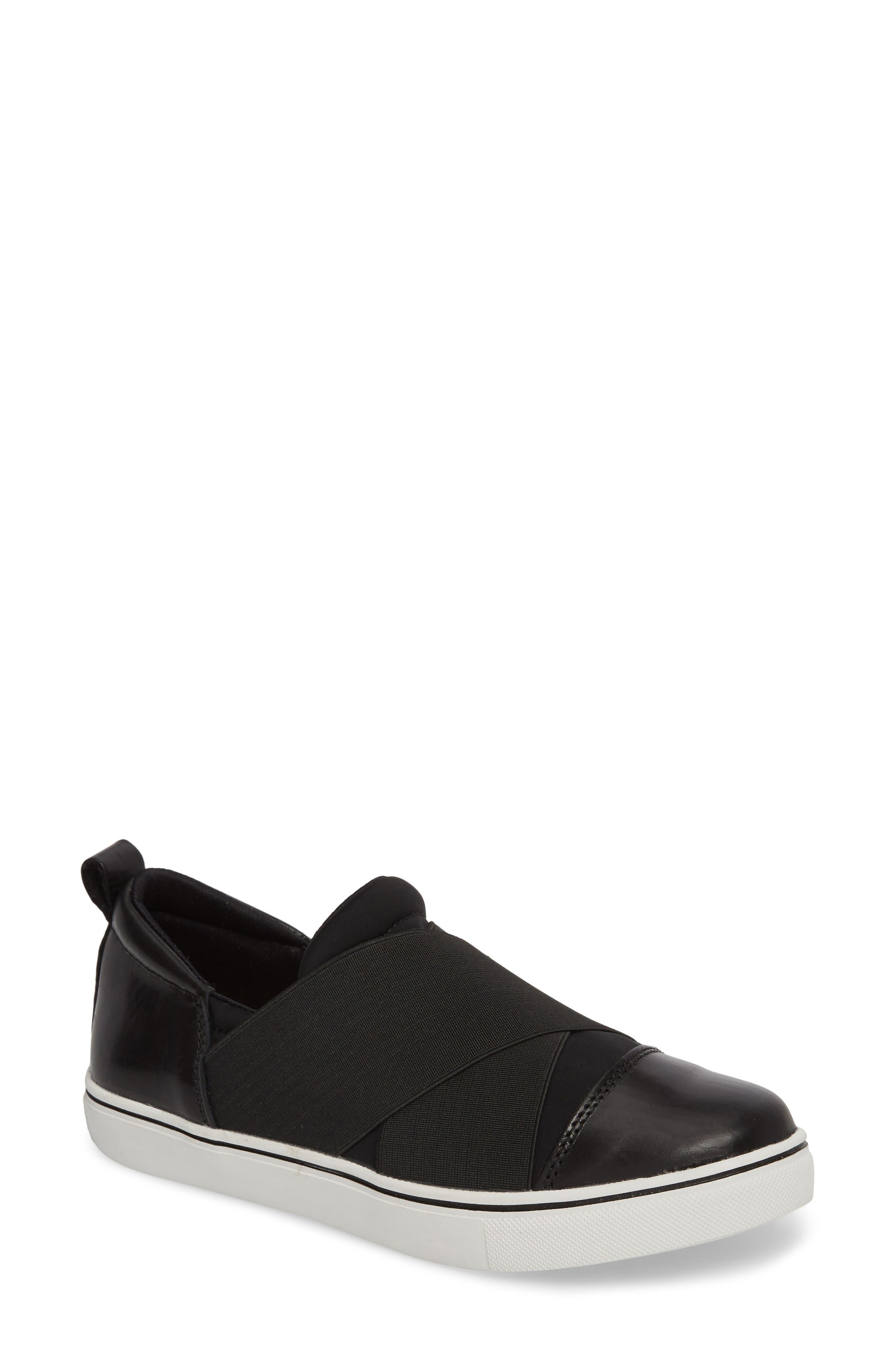 Elmwood Slip-On Sneaker,                             Main thumbnail 1, color,                             BLACK LEATHER