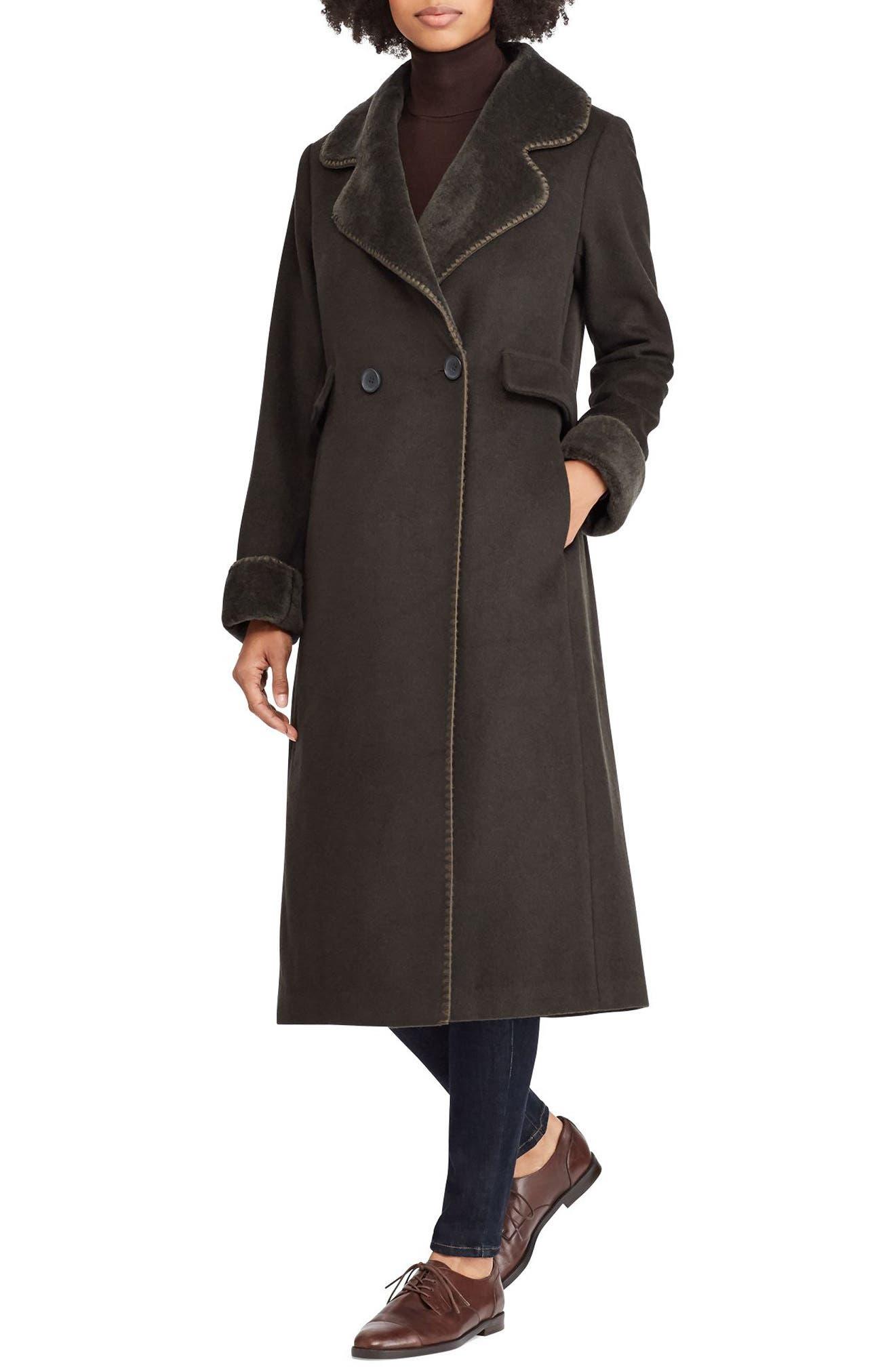 Wool Blend Faux Shearling Trim Coat,                         Main,                         color, MILITARY GREEN