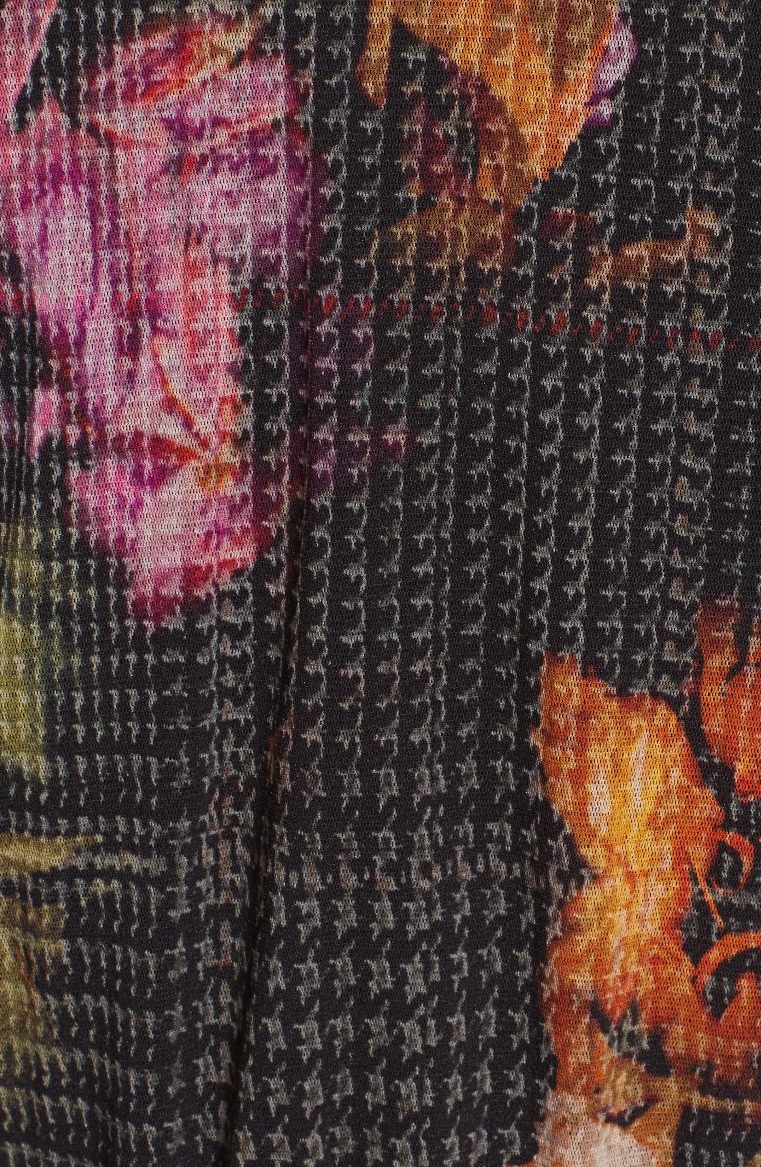 Velvet Trim Print Tulle Cardigan,                             Alternate thumbnail 5, color,                             001