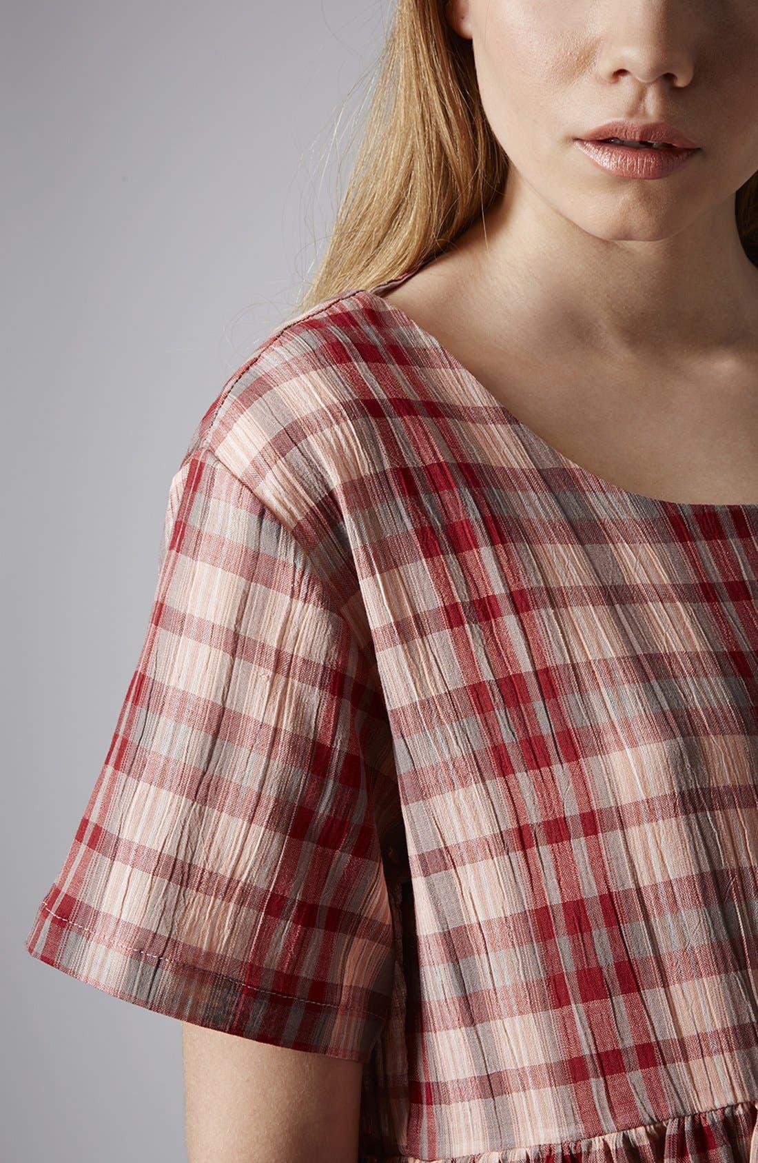 Plaid Cotton Smock Dress,                             Alternate thumbnail 4, color,                             600
