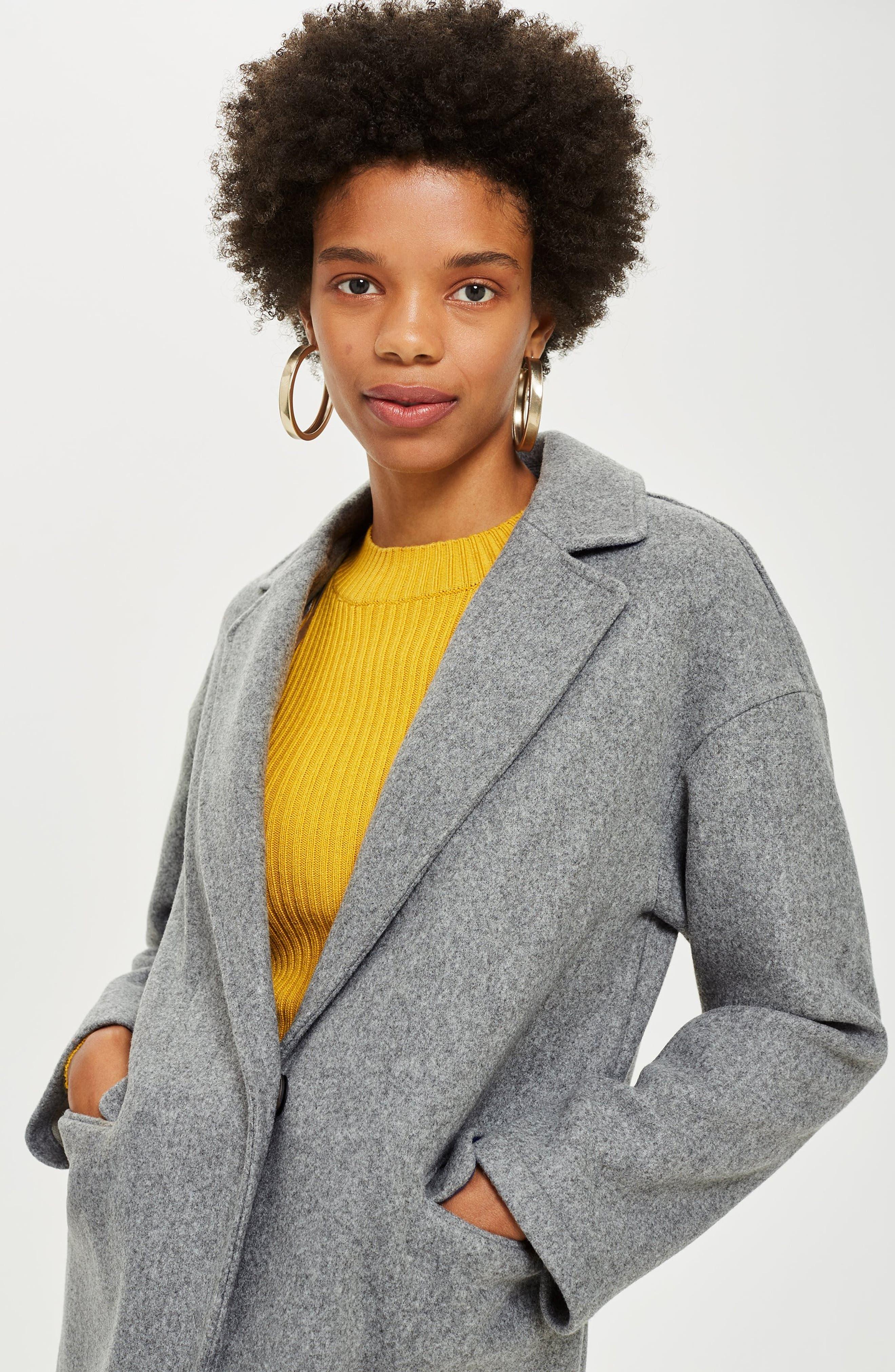Lily Knit Back Midi Coat,                             Alternate thumbnail 7, color,                             GREY MARL