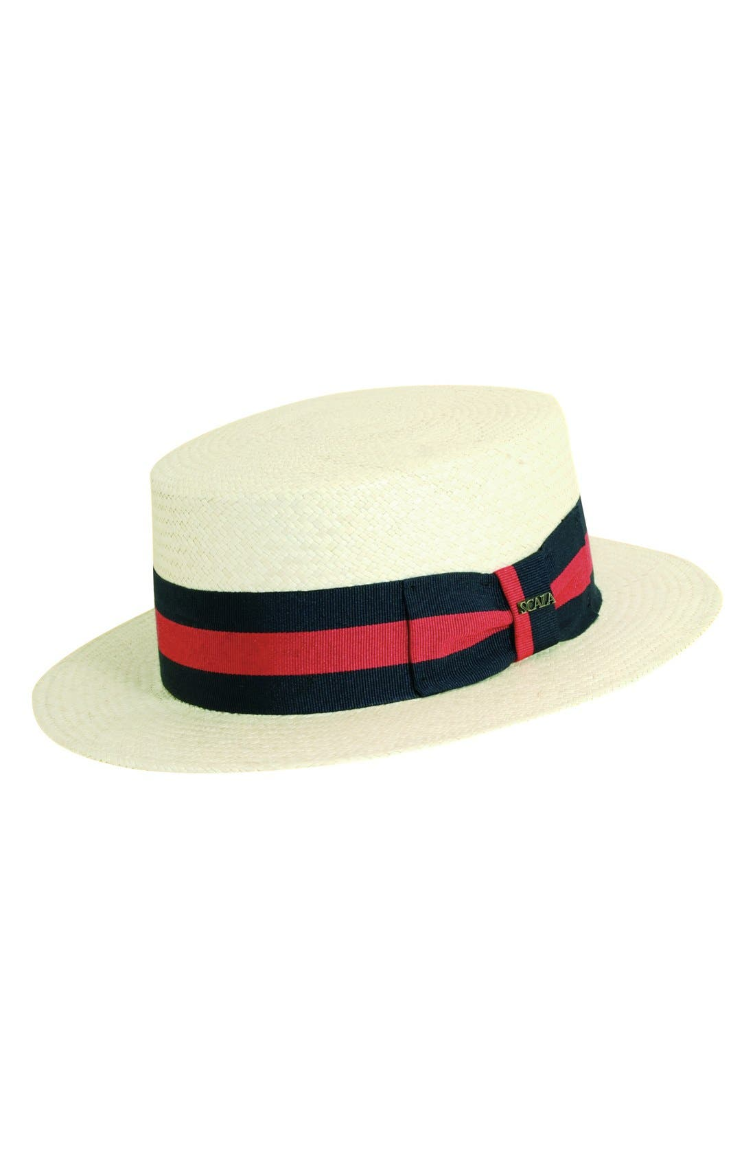 Panama Straw Boater Hat,                         Main,                         color,