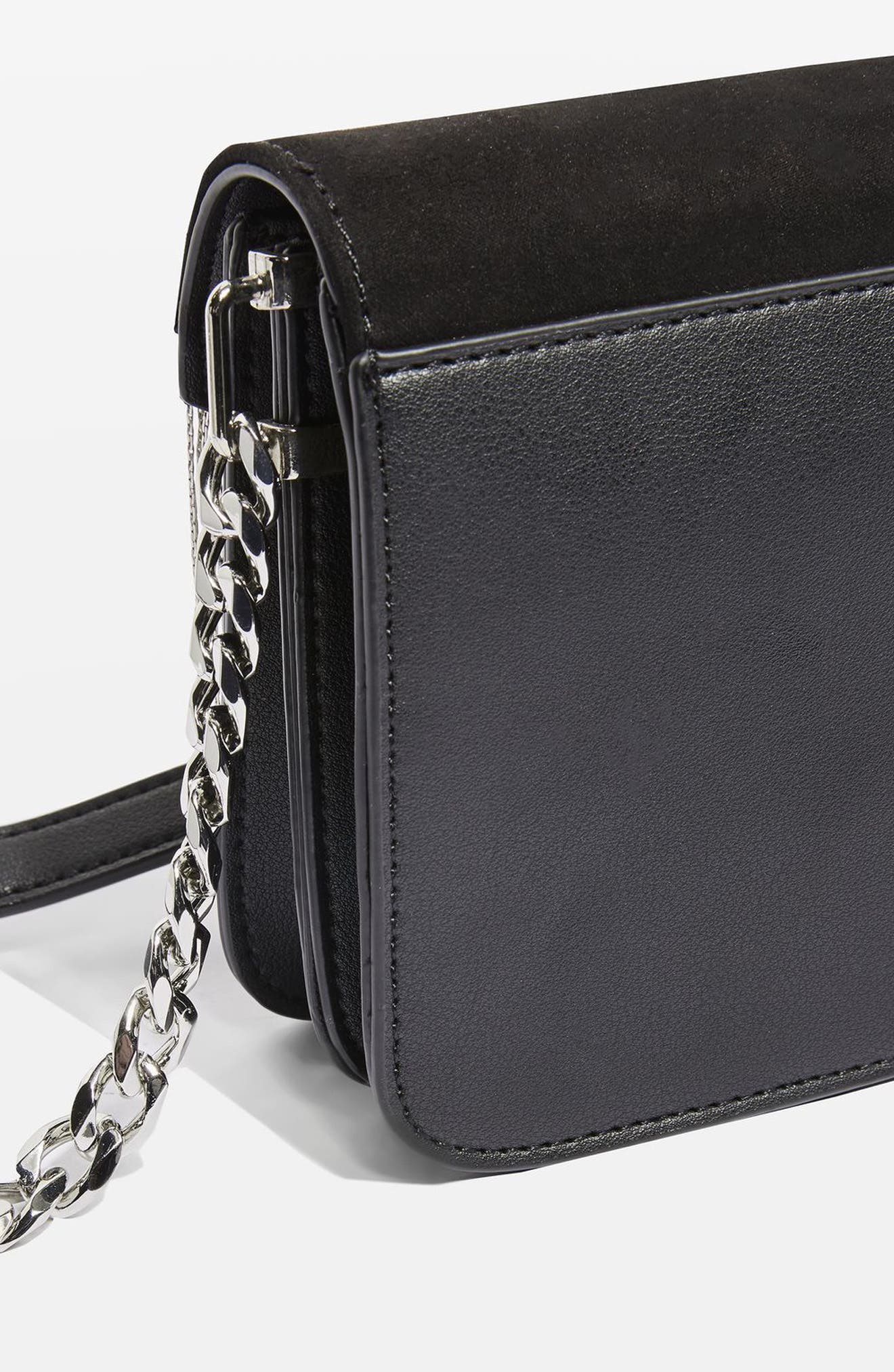 Remy Chain Flap Faux Leather Crossbody Bag,                             Alternate thumbnail 3, color,                             001