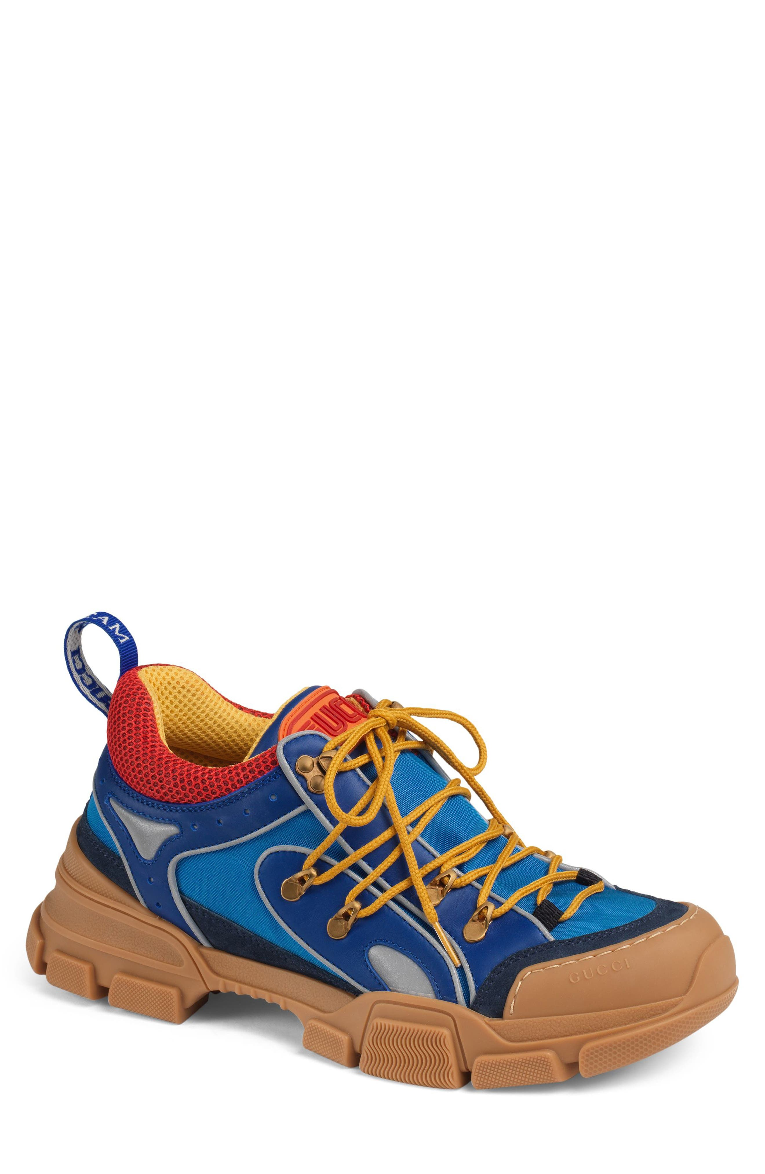 Leather and Canvas Sneaker,                         Main,                         color, BLUE