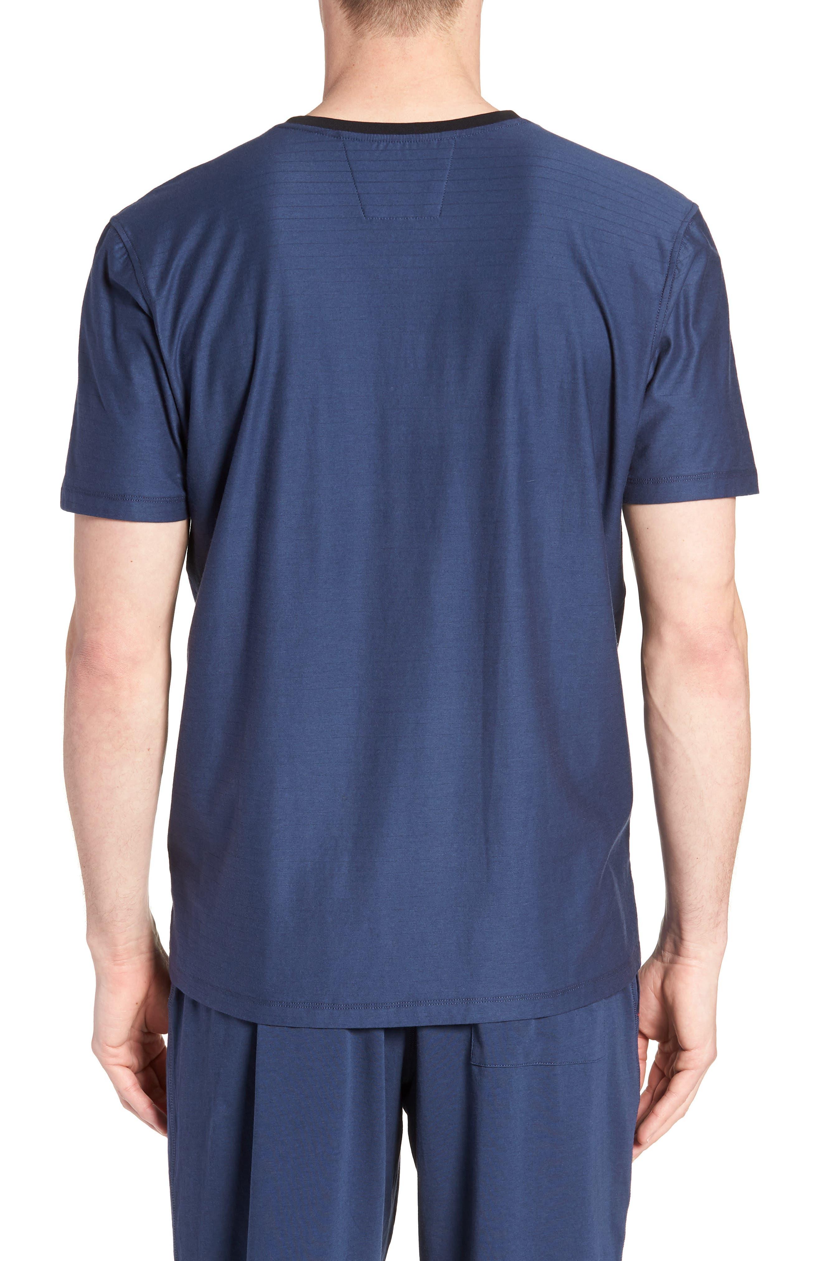 Pima Cotton & Modal V-Neck T-Shirt,                             Alternate thumbnail 2, color,                             NAVY