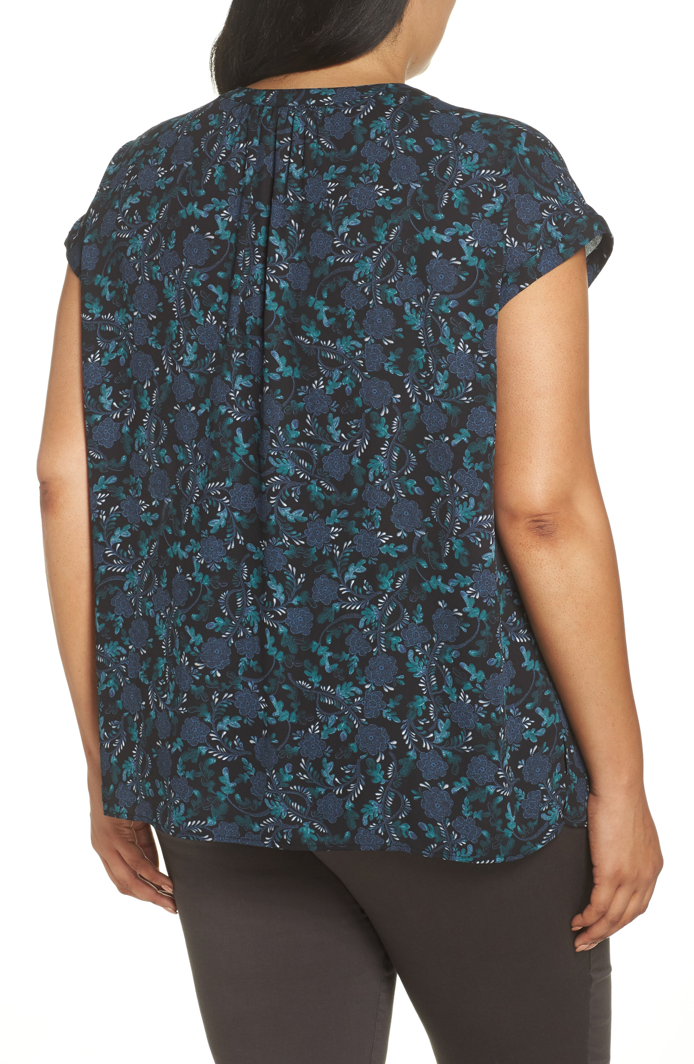 Gathered Neck Button Down Top,                             Alternate thumbnail 2, color,                             BLACK- GREEN FLORAL PRINT