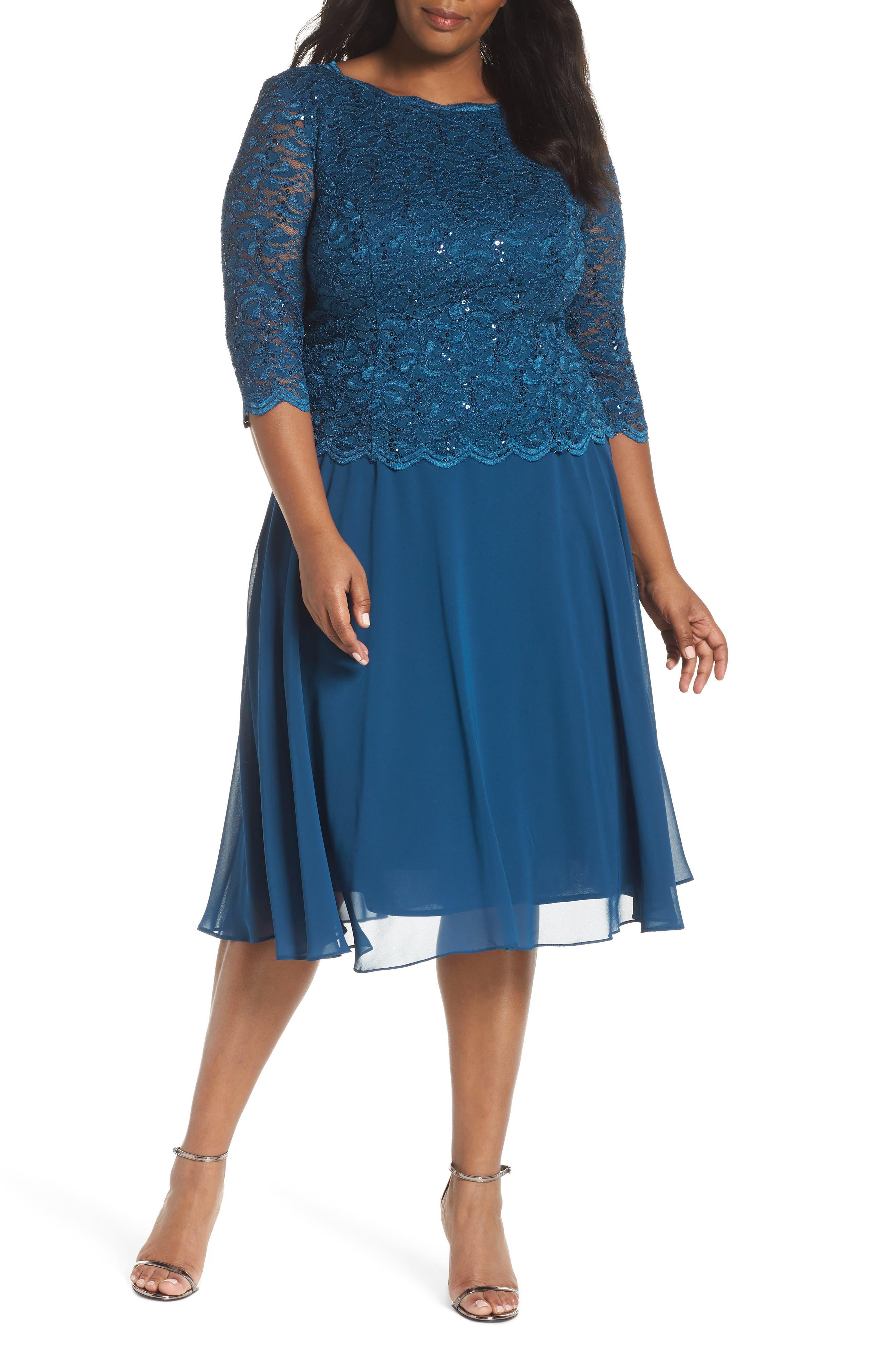 Plus Size Alex Evenings Mock Two-Piece Tea Length Dress, Blue/green
