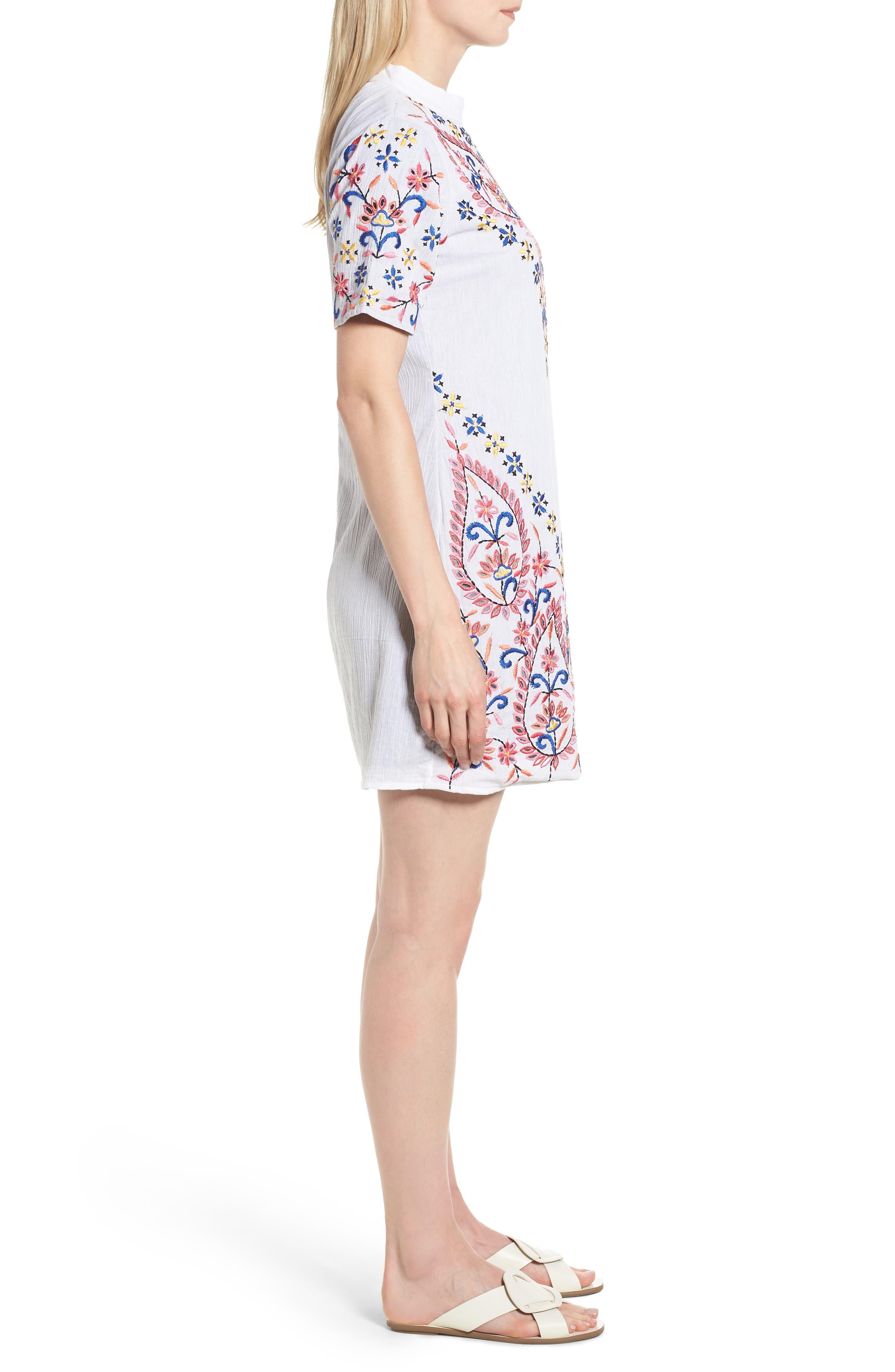 Fleur Embroidered Cotton Minidress,                             Alternate thumbnail 3, color,                             WHITE