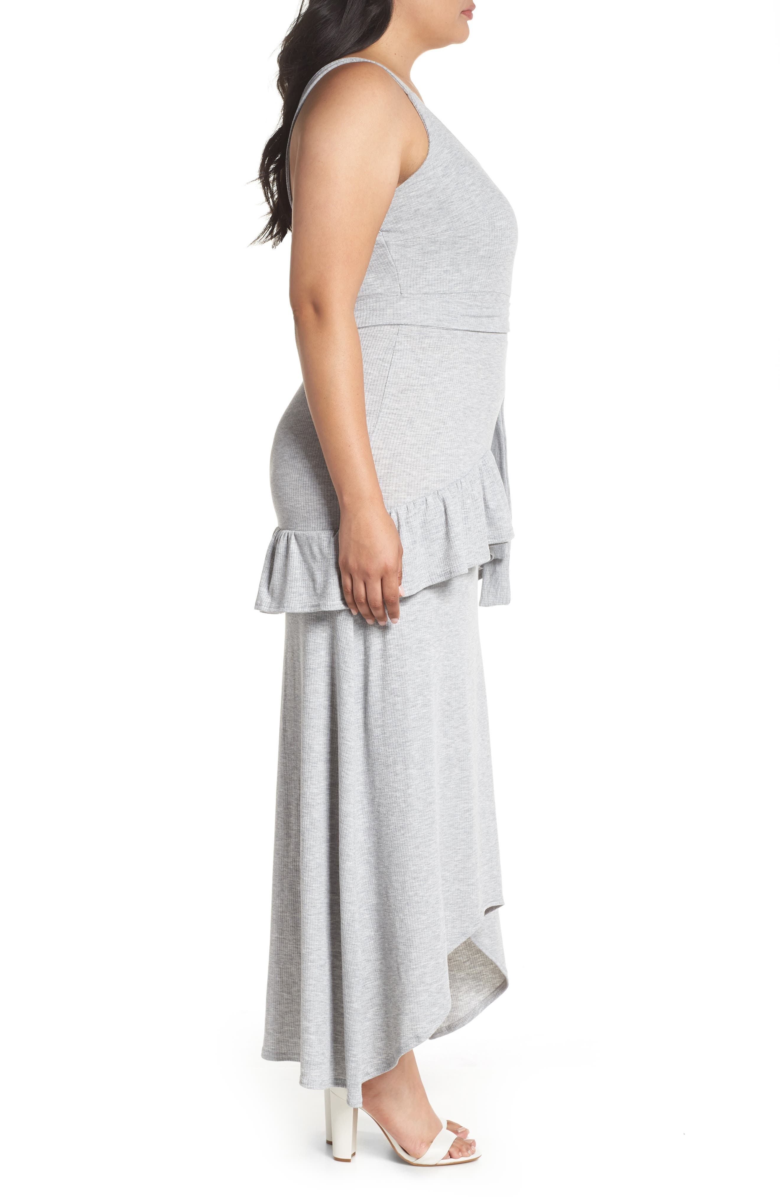 Tie Waist Ruffle Rib Jersey High/Low Dress,                             Alternate thumbnail 3, color,                             020