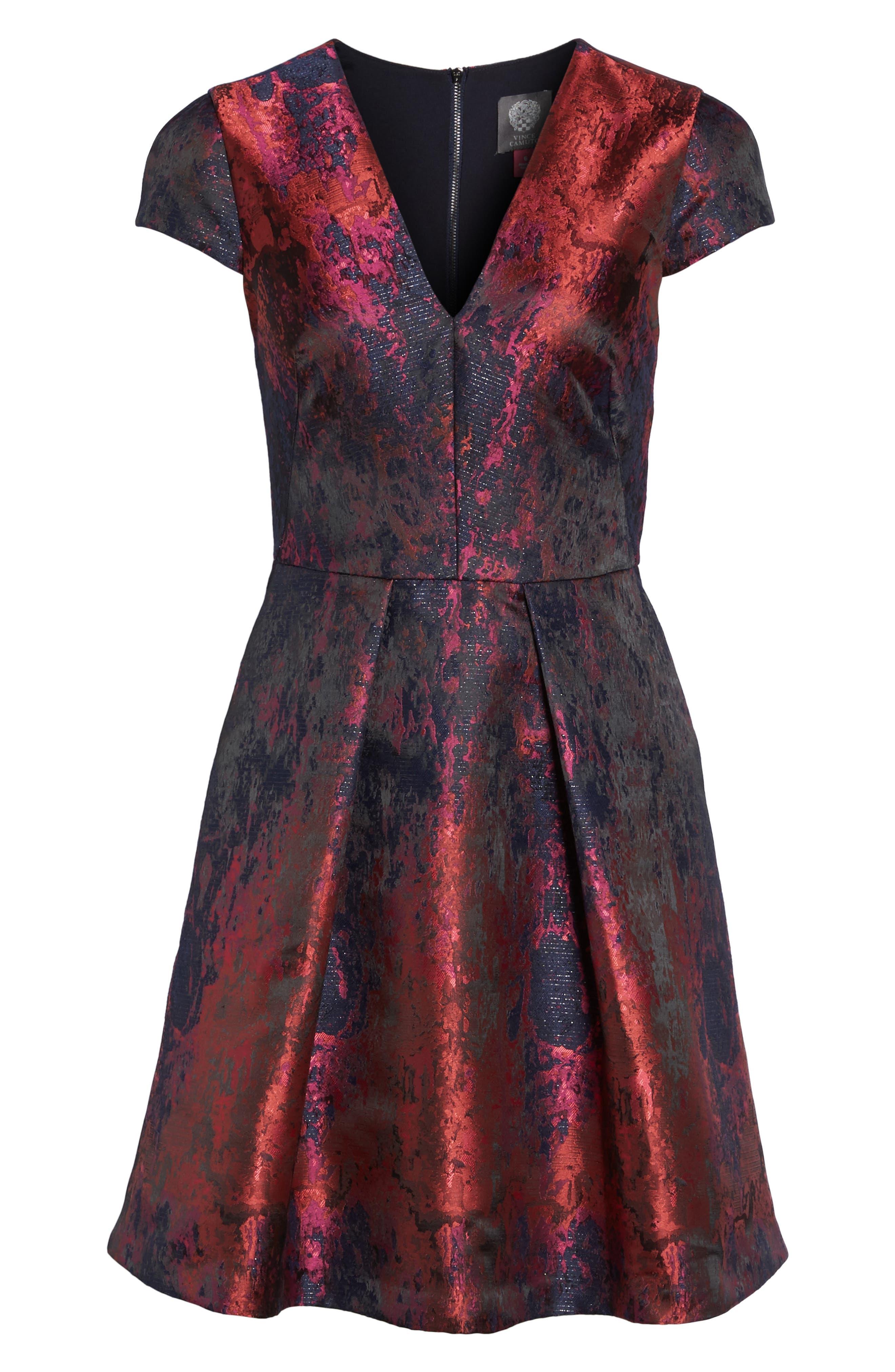 Jacquard Fit & Flare Dress,                             Alternate thumbnail 6, color,                             670