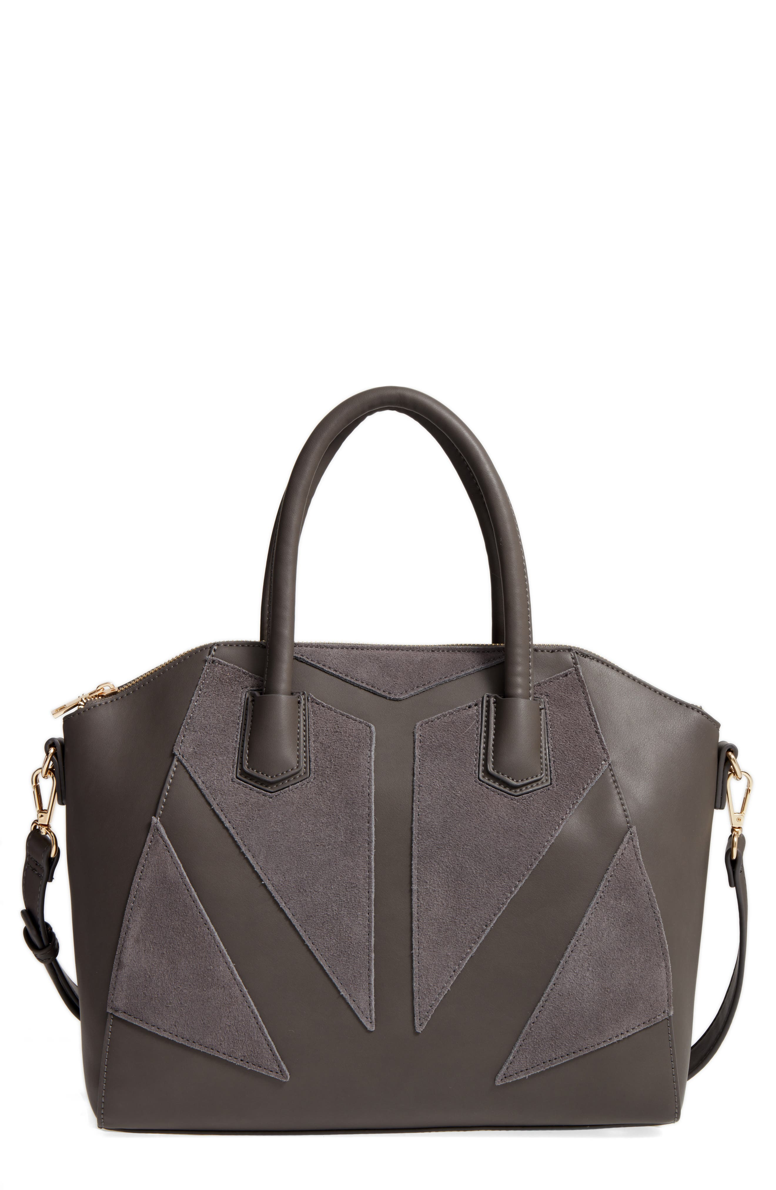 Rosamund Faux Leather and Genuine Suede Satchel,                             Main thumbnail 2, color,