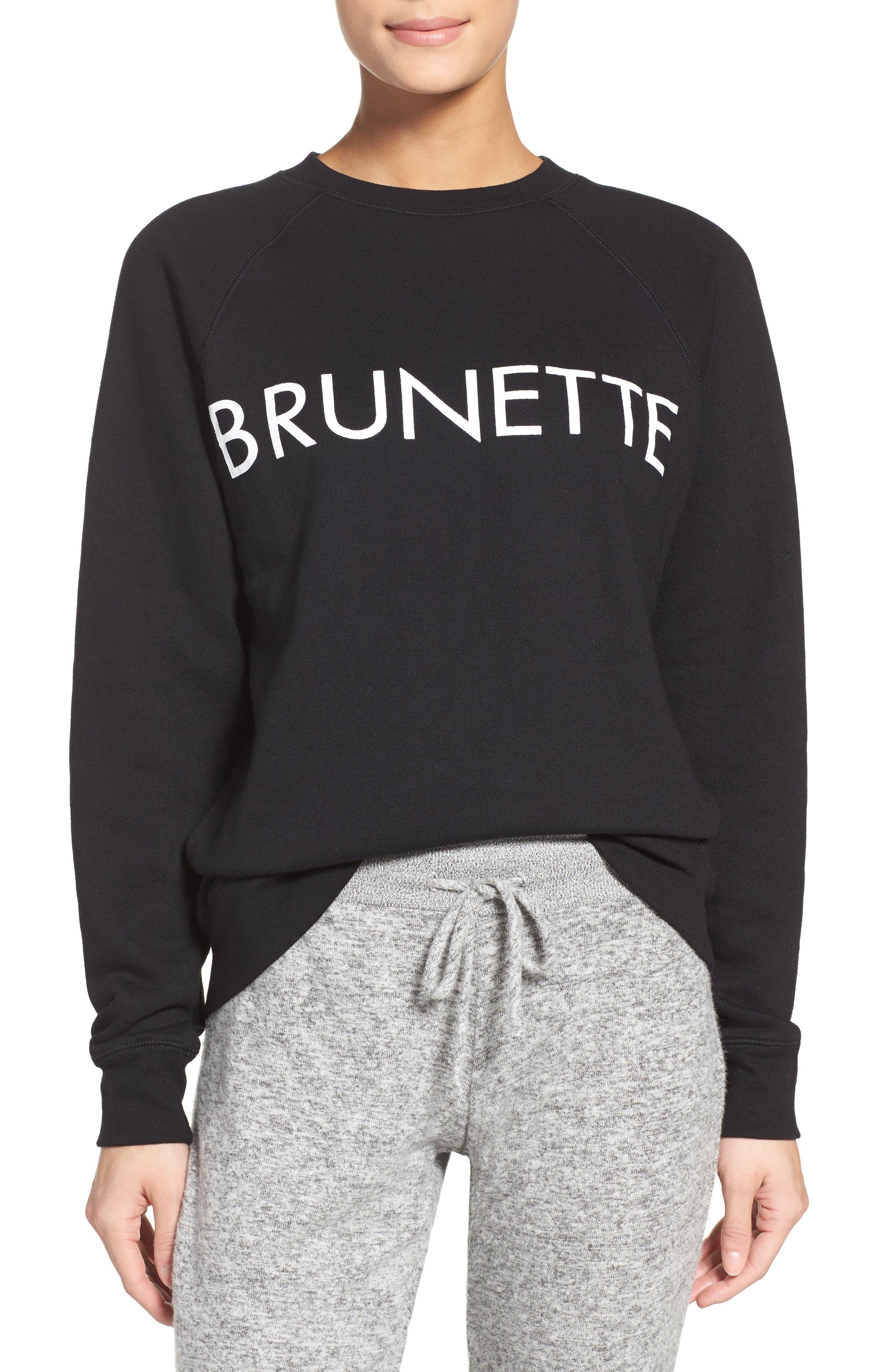 Brunette Crewneck Sweatshirt,                             Alternate thumbnail 2, color,                             001
