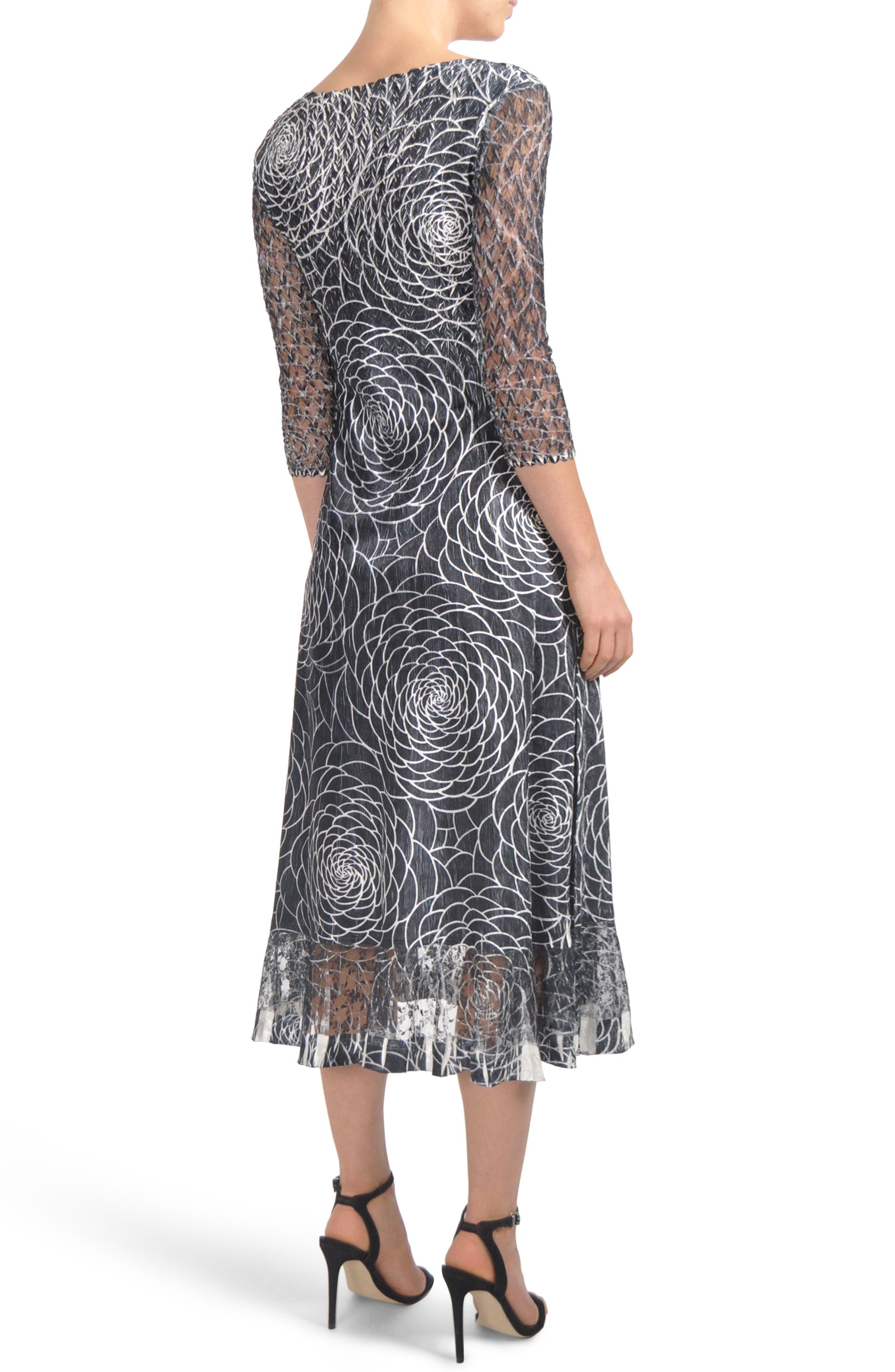 Charmeuse & Lace Midi Dress,                             Alternate thumbnail 2, color,                             001