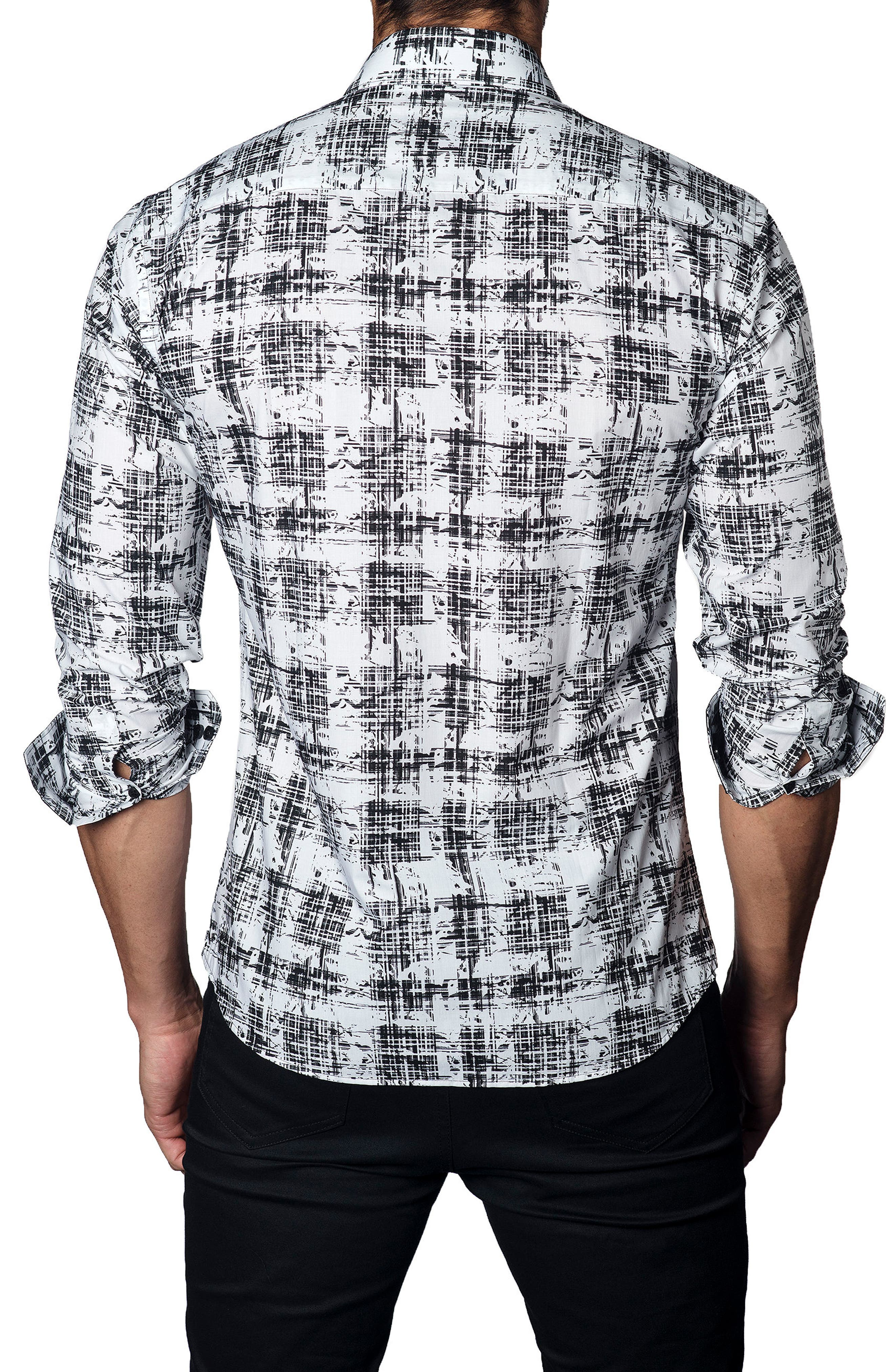 Trim Fit Distressed Plaid Sport Shirt,                             Alternate thumbnail 2, color,                             001