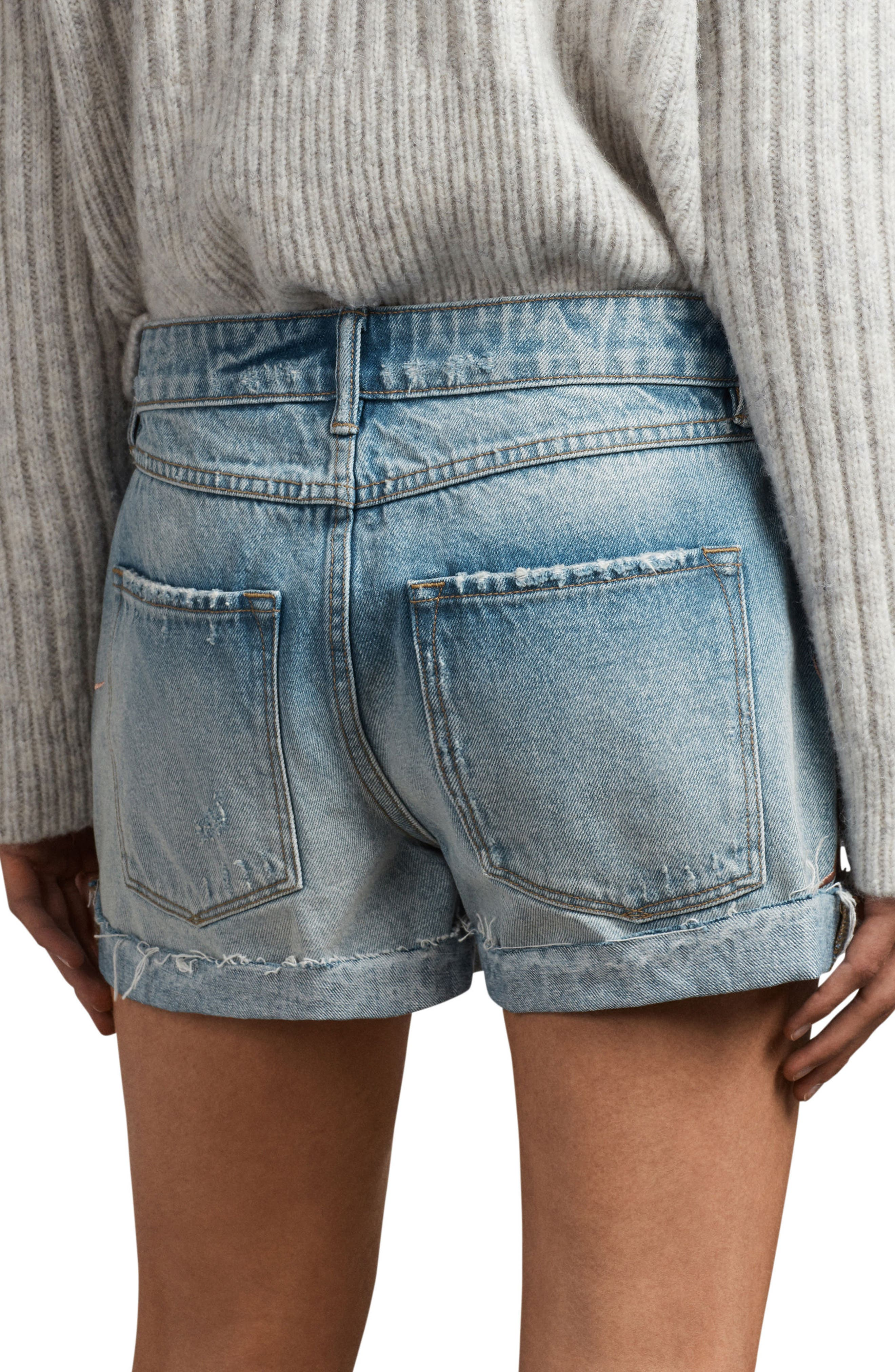 Birds Pam Embroidered Denim Shorts,                             Alternate thumbnail 2, color,                             460