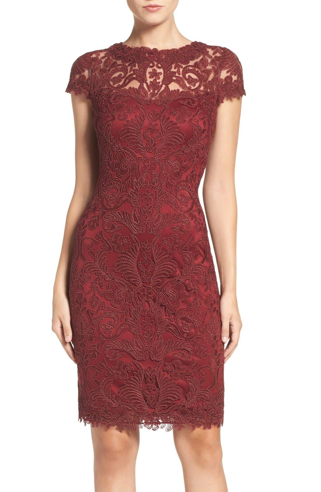 Illusion Yoke Lace Sheath Dress,                             Main thumbnail 21, color,