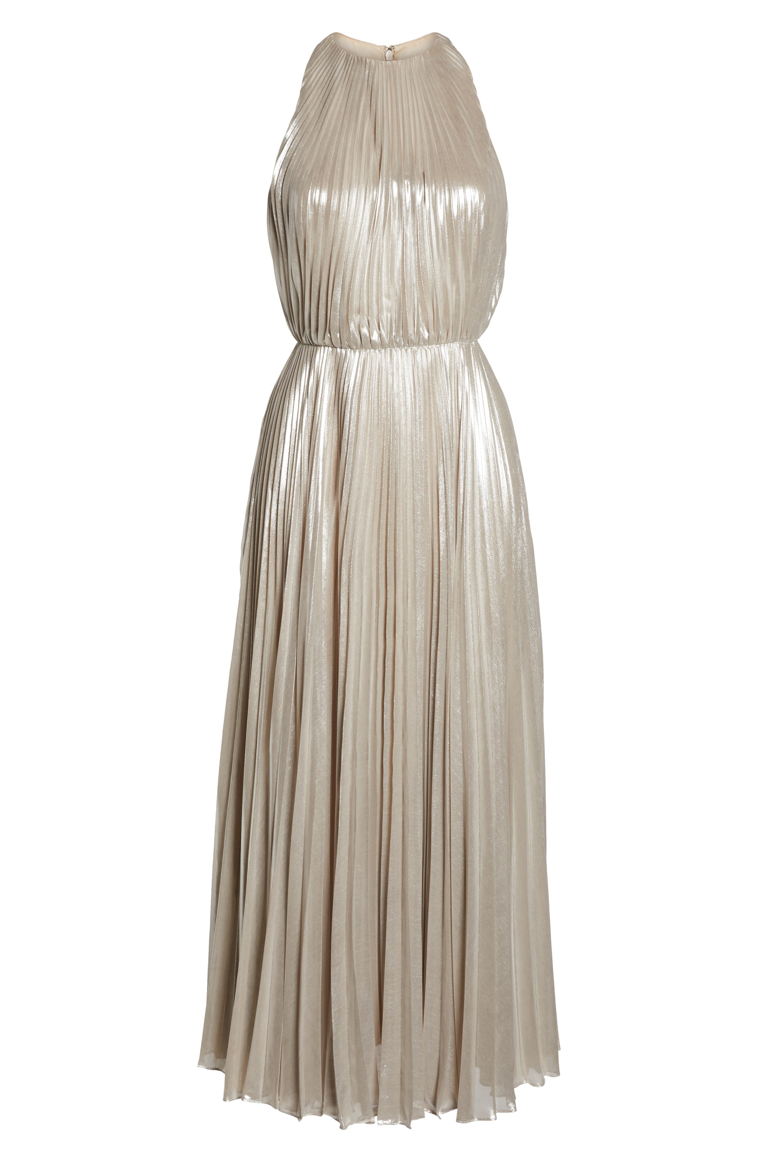 Pleated Metallic Dress,                             Alternate thumbnail 7, color,                             CHAMPAGNE