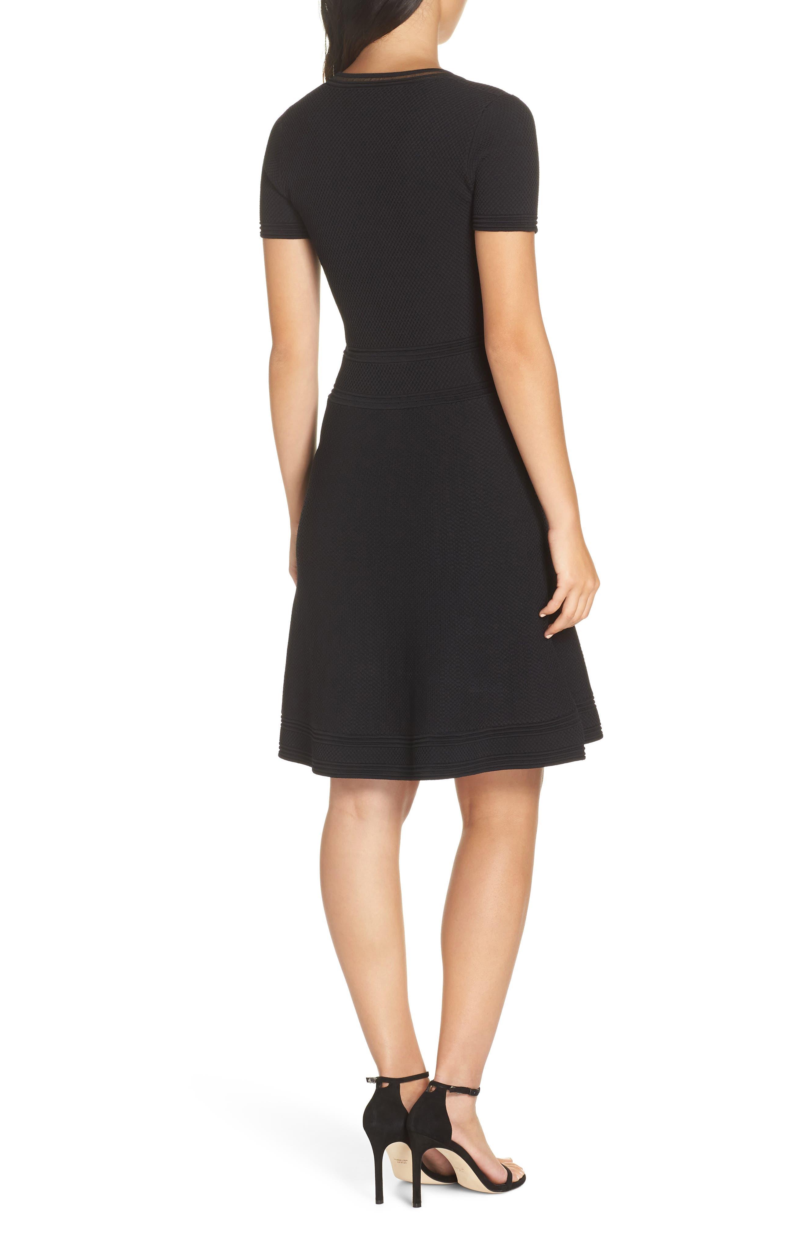 Ellie Knits V-Neck Fit & Flare Dress,                             Alternate thumbnail 2, color,                             BLACK