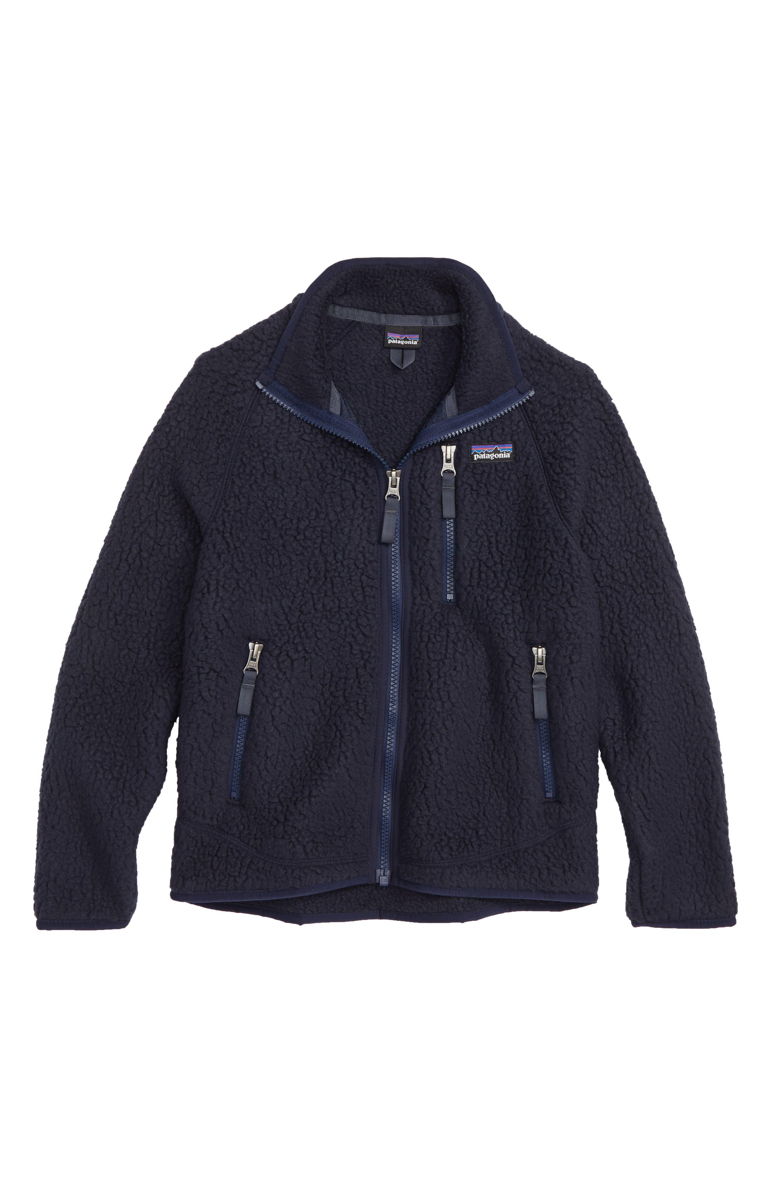 Retro Pile Faux Shearling Jacket,                             Main thumbnail 1, color,                             NAVY